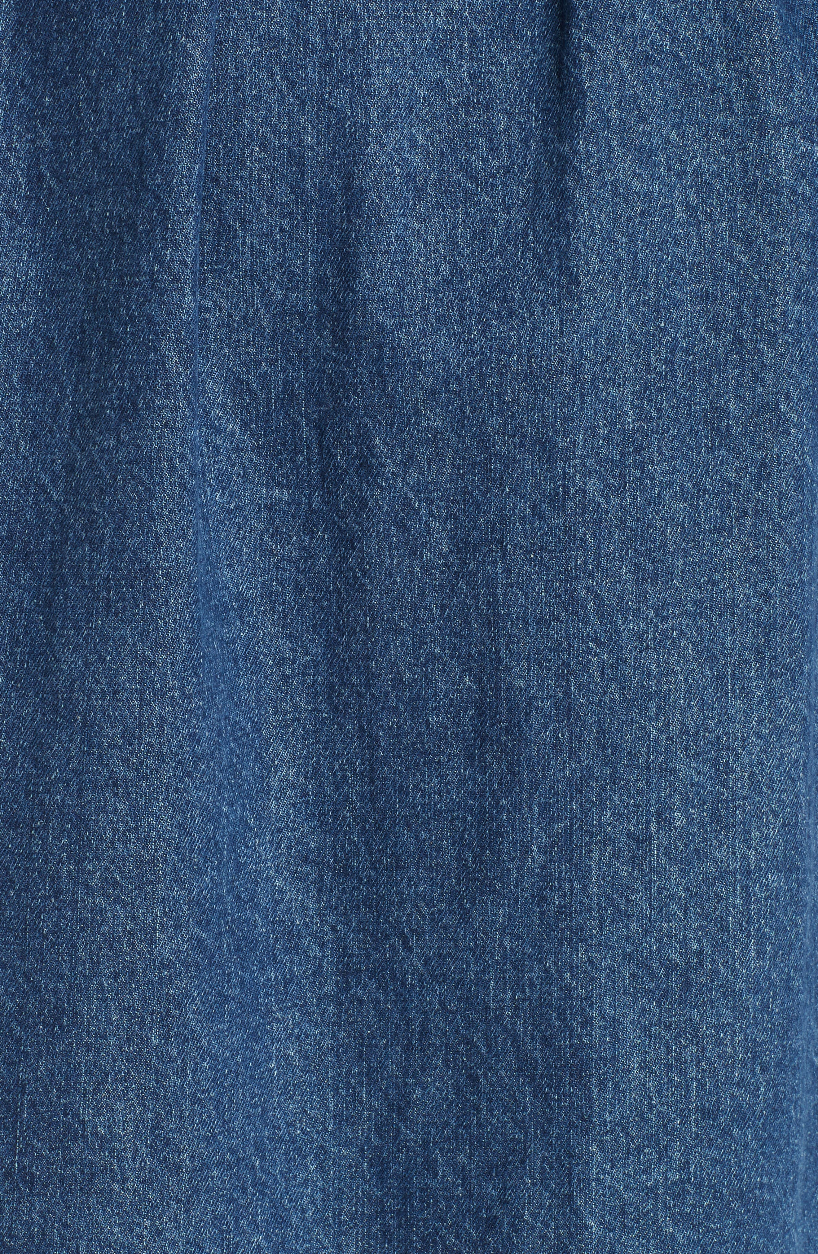 Denim A-Line Dress,                             Alternate thumbnail 6, color,                             INDIGO