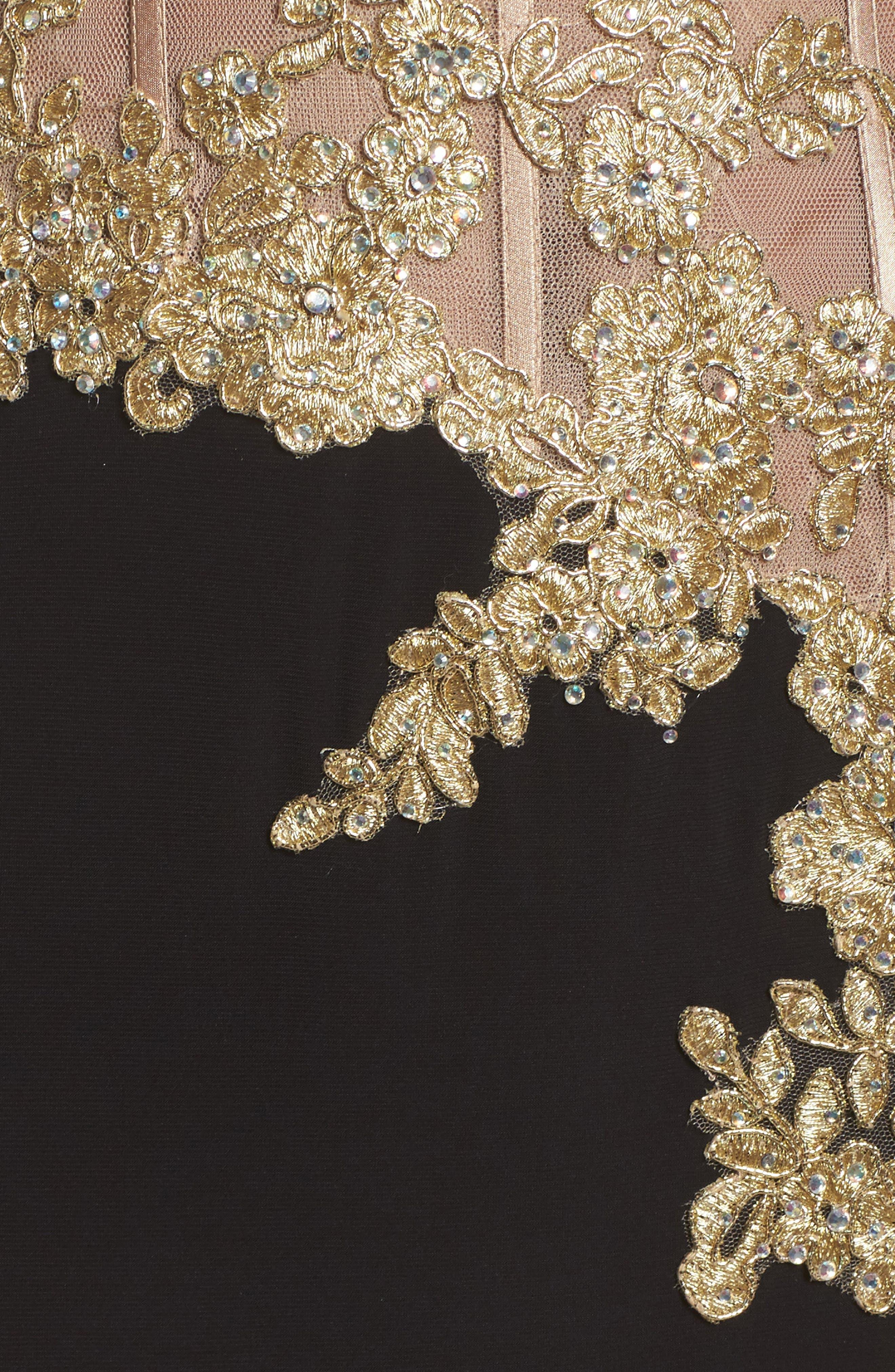 Appliqué Strapless Bustier Gown,                             Alternate thumbnail 5, color,                             GOLD/BLACK