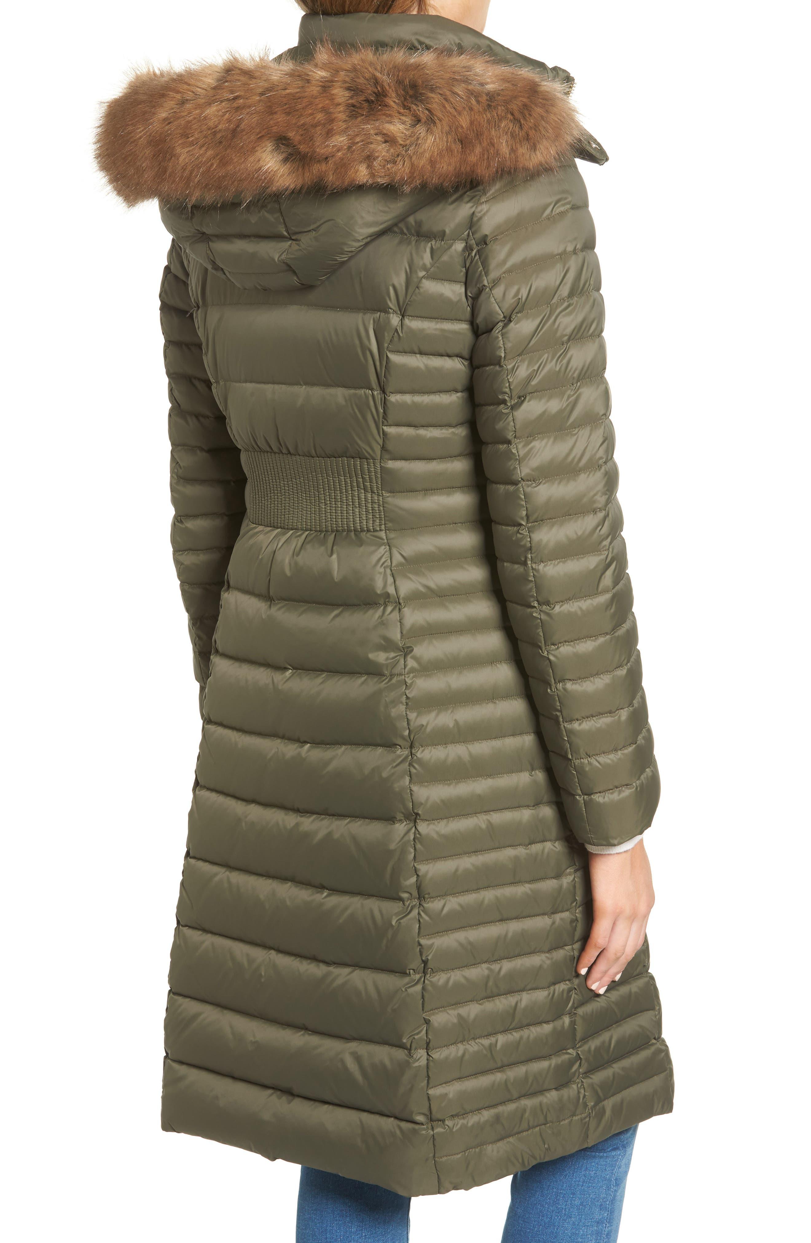 down puffer coat with faux fur trim,                             Alternate thumbnail 5, color,