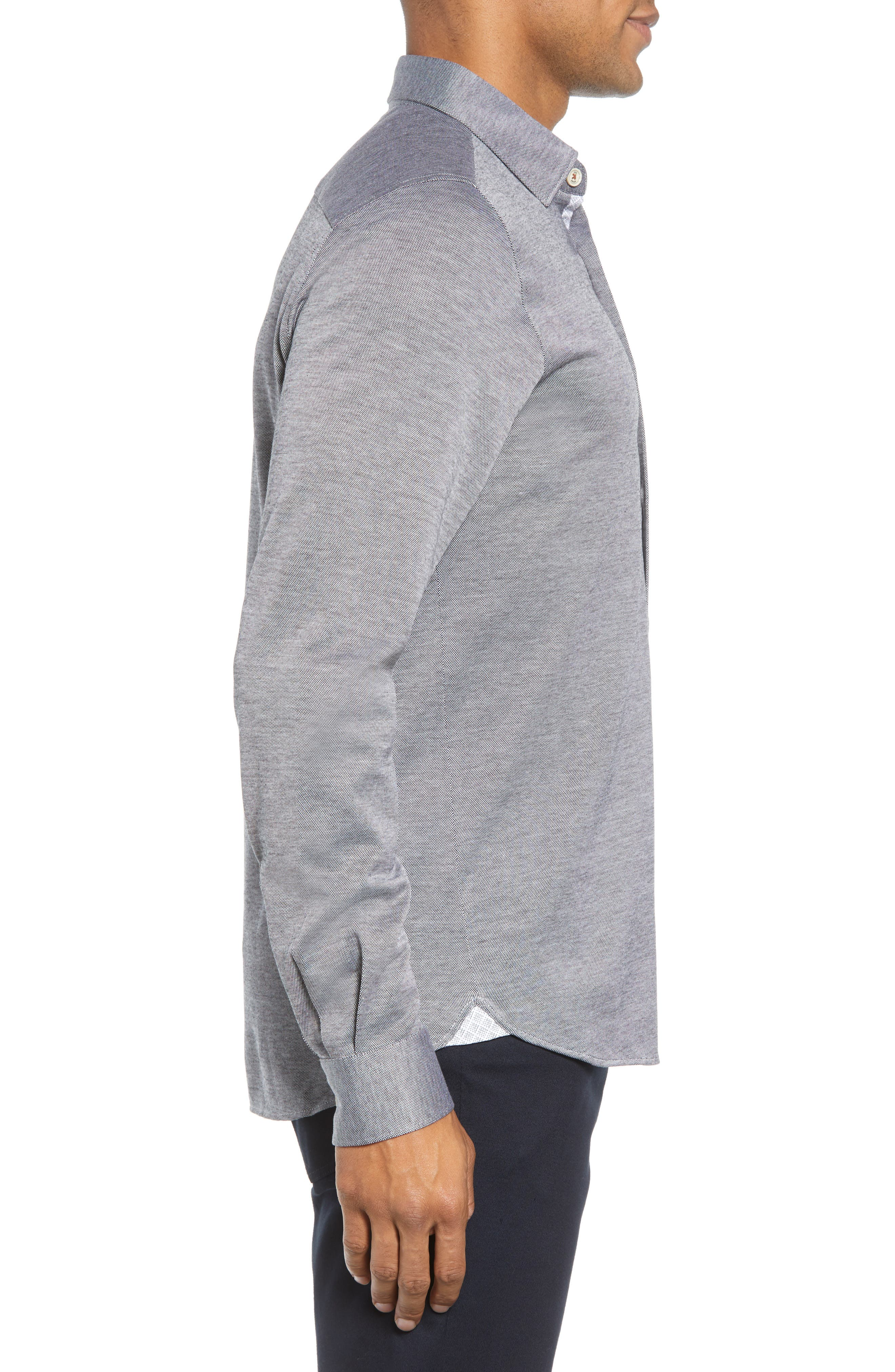 Timothy Slim Fit Cotton Jersey Shirt,                             Alternate thumbnail 3, color,                             BLACK