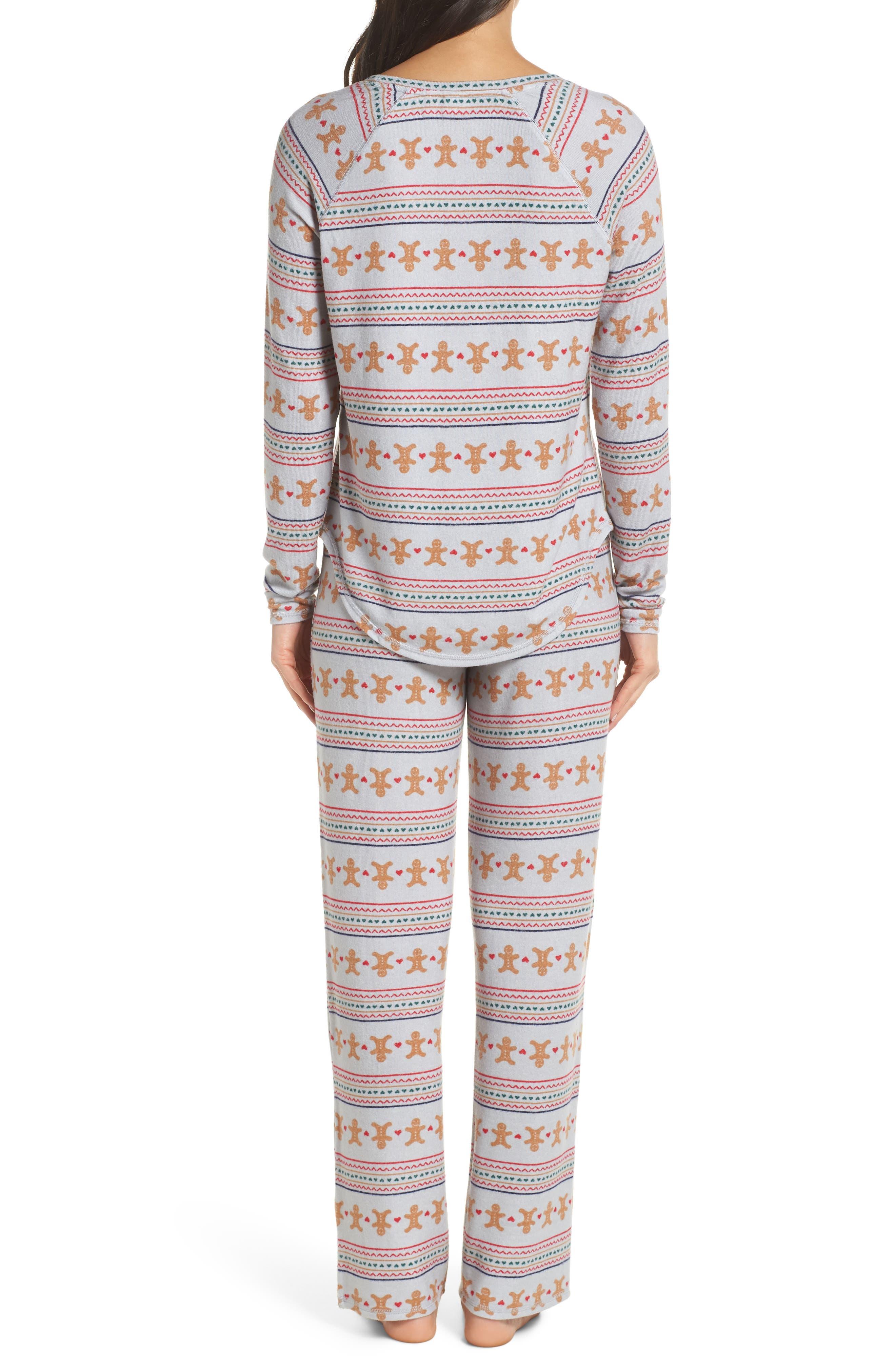 Knit Girlfriend Pajamas & Eye Mask,                             Alternate thumbnail 2, color,                             GREY MICRO GINGERBREAD