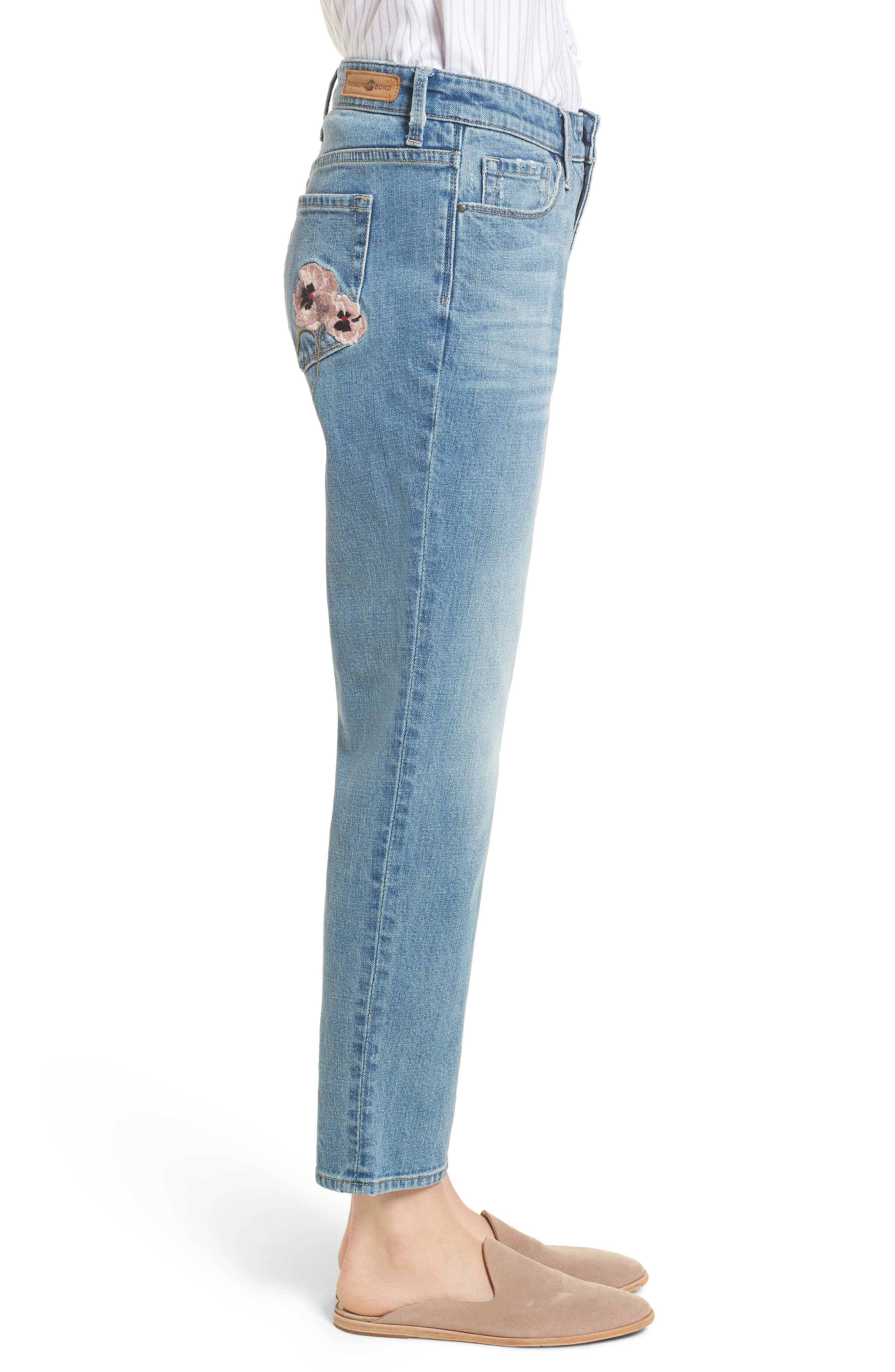 Pansy Embroidered Crop Boyfriend Jeans,                             Alternate thumbnail 3, color,                             400
