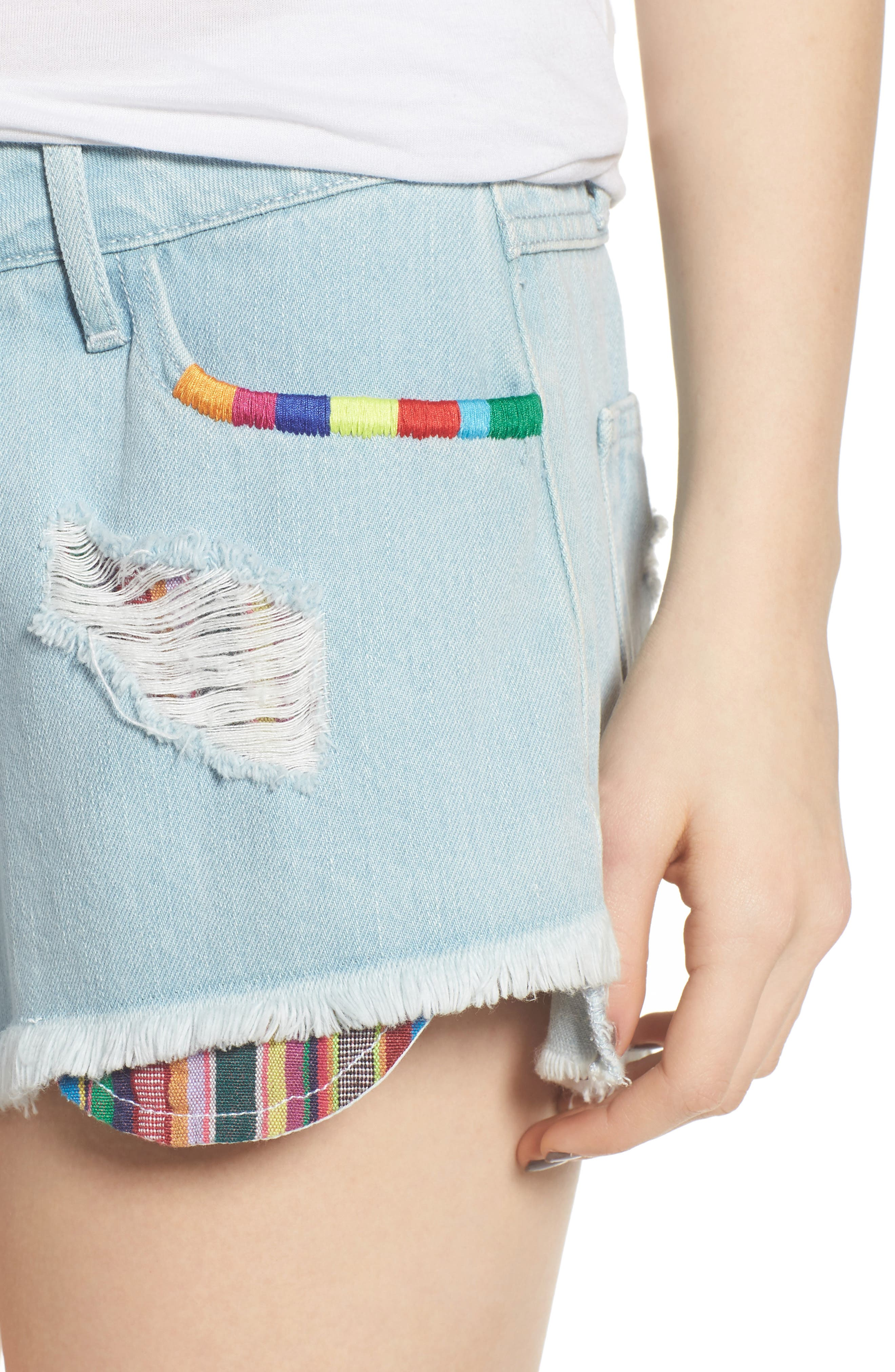 Cabo Cutoff Denim Shorts,                             Alternate thumbnail 4, color,                             400