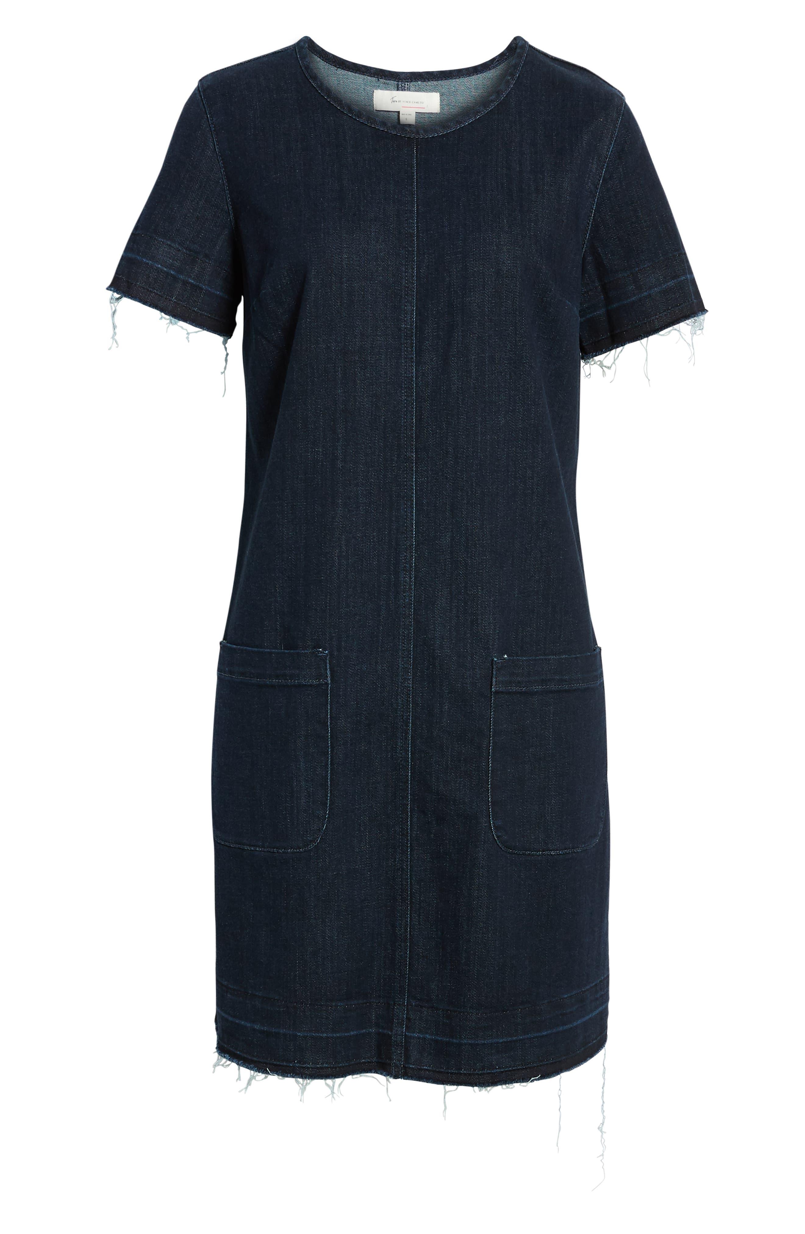 VINCE CAMUTO,                             Release Hem Denim Dress,                             Alternate thumbnail 3, color,                             DARK AUTHENTIC