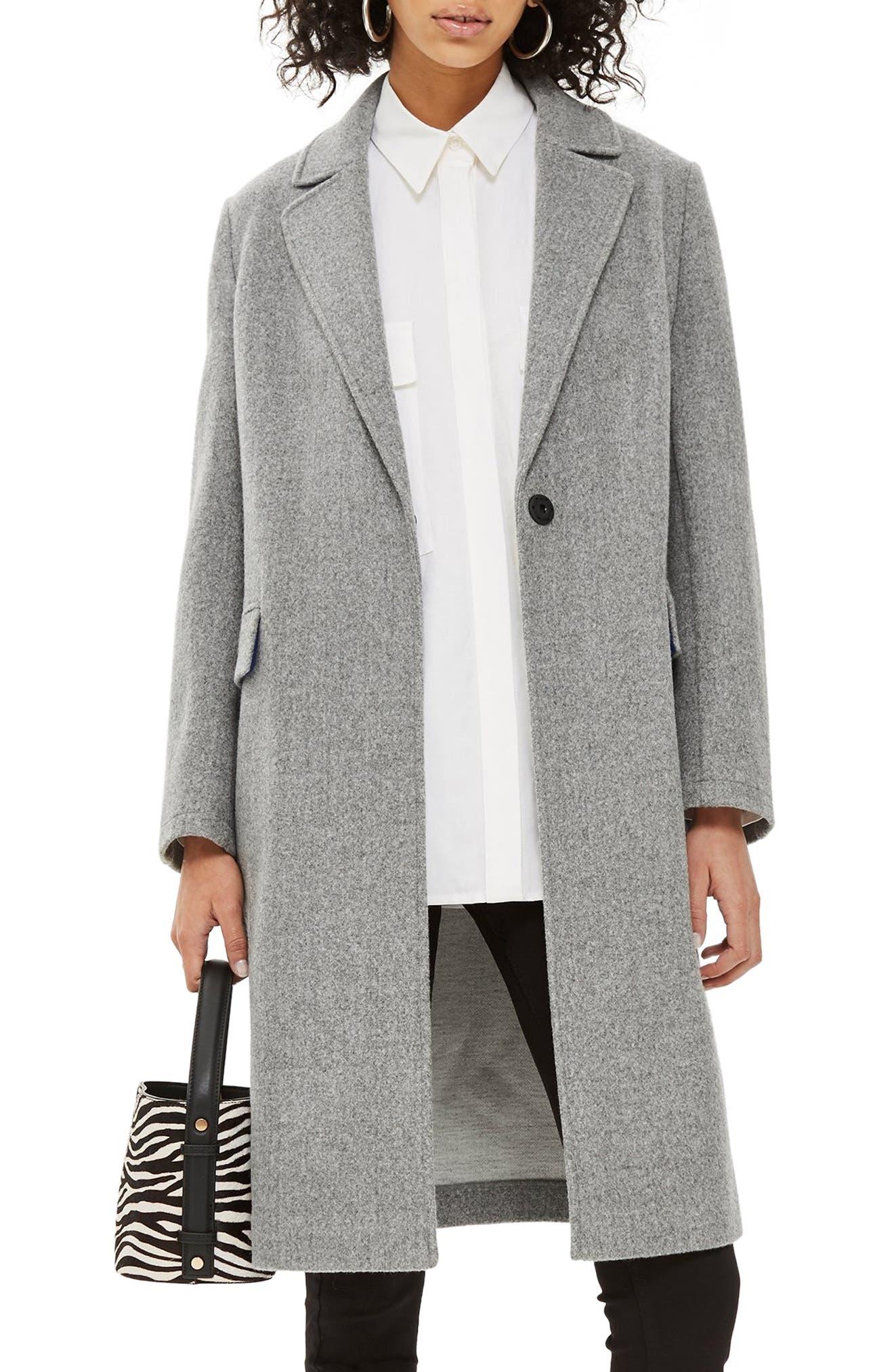Lily Knit Back Midi Coat, Main, color, GREY MARL