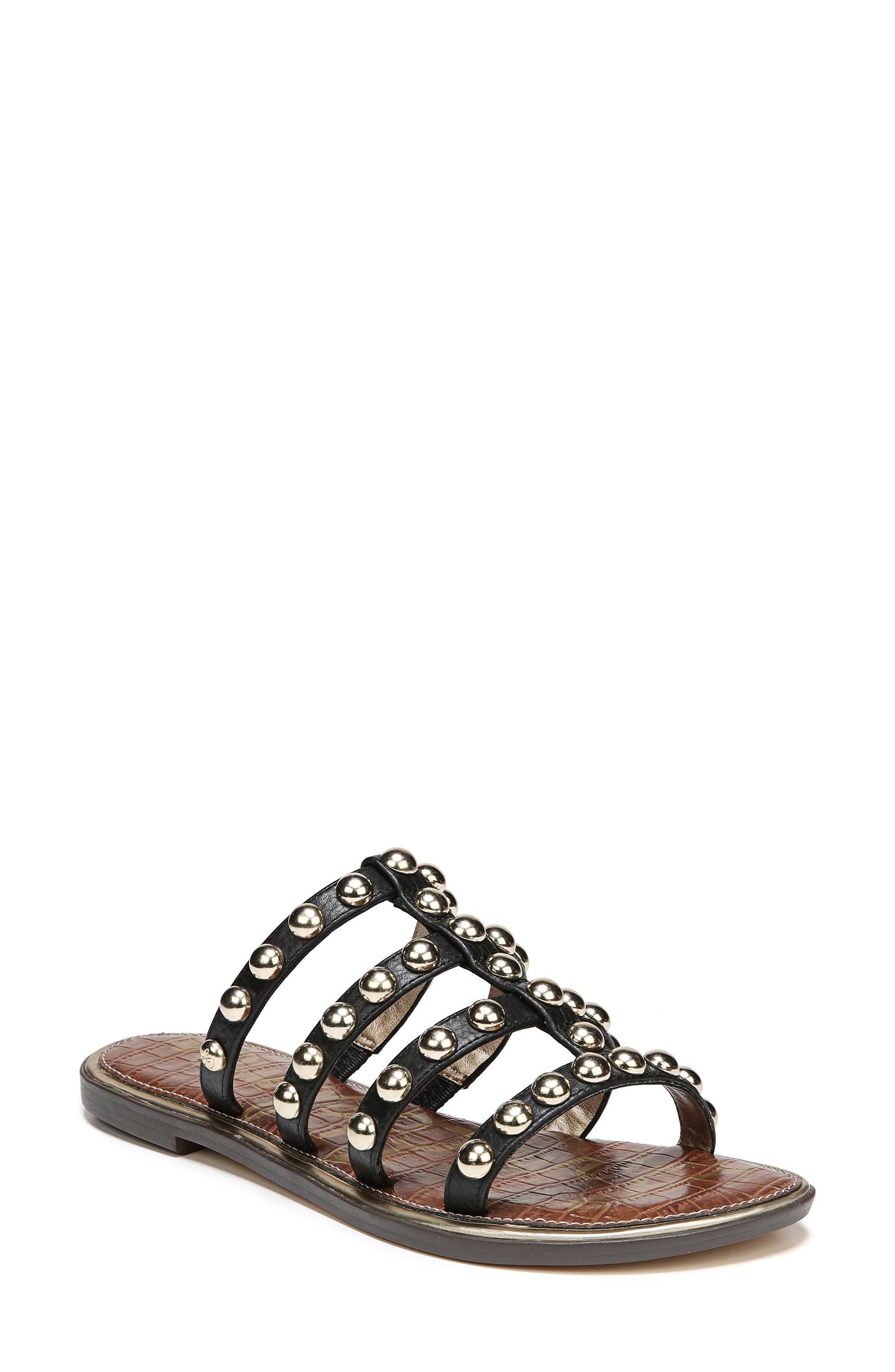 Glenn Studded Slide Sandal,                             Main thumbnail 1, color,                             001