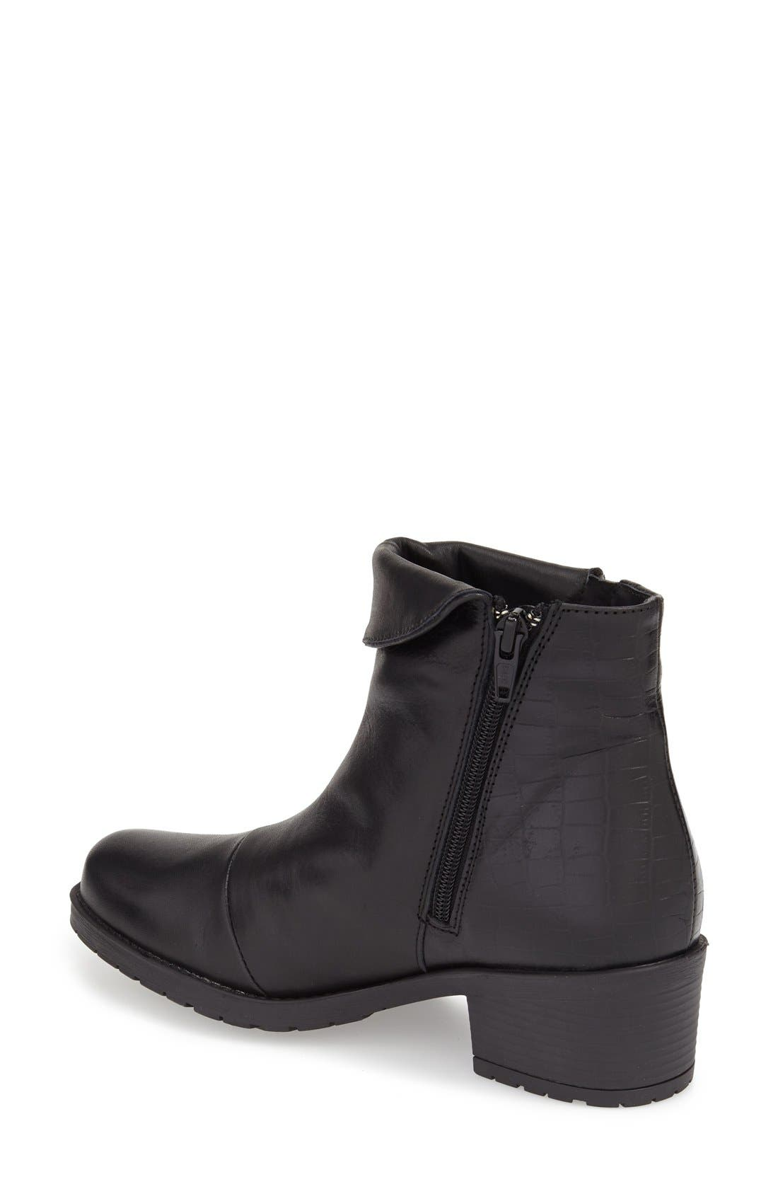 'Borano' Slouchy Waterproof Bootie,                             Alternate thumbnail 2, color,                             BLACK CRINKLE PATENT LEATHER