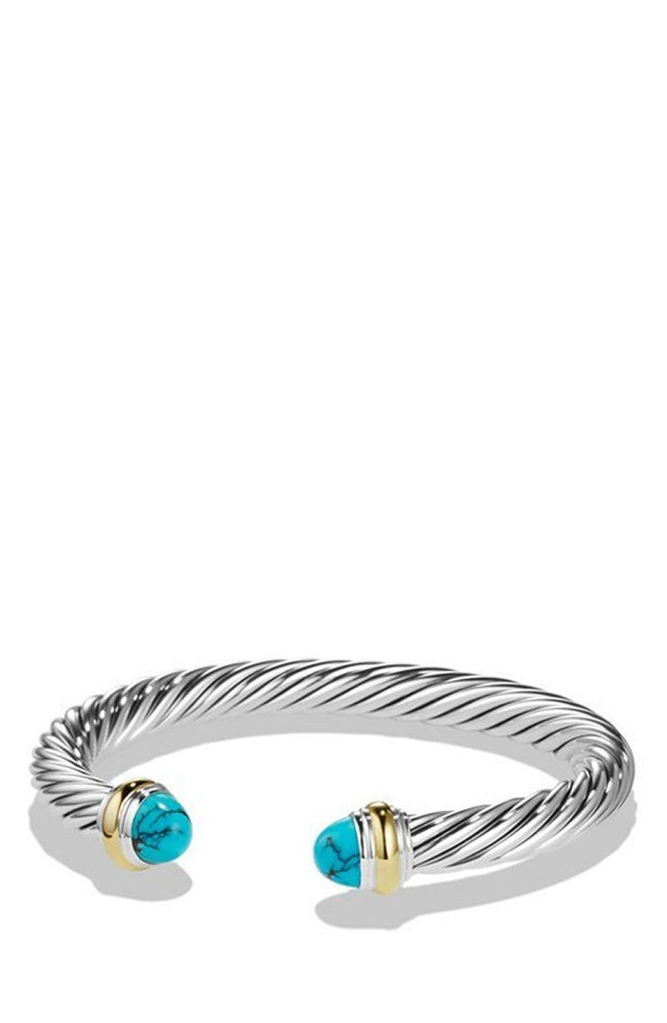 Cable Classic Bracelet with Turquoise and 14K Gold, 5mm,                         Main,                         color, SILVER/ YELLOW GOLD/ TURQUOISE