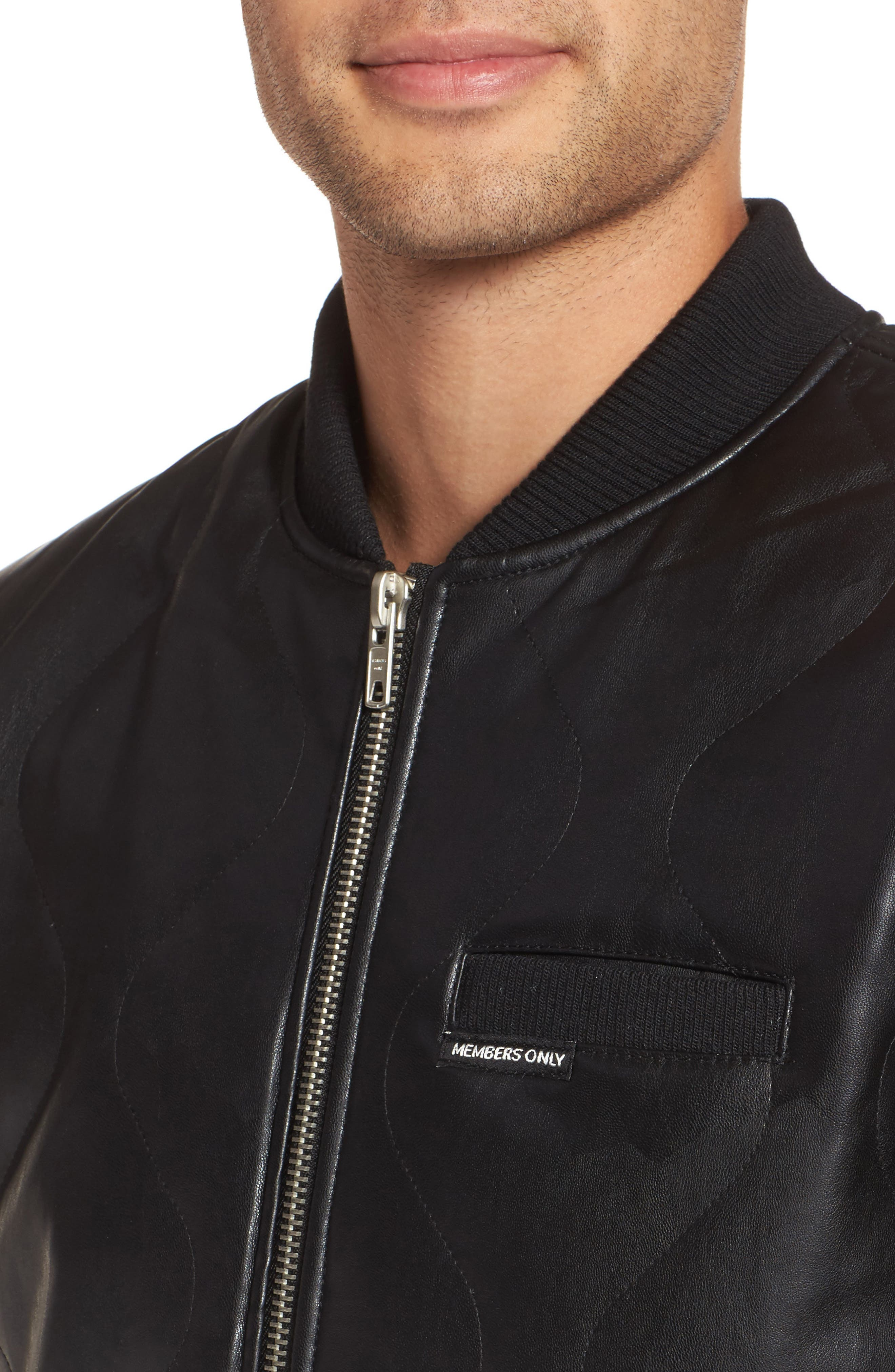 Quilted Faux Leather Bomber Jacket,                             Alternate thumbnail 4, color,                             001