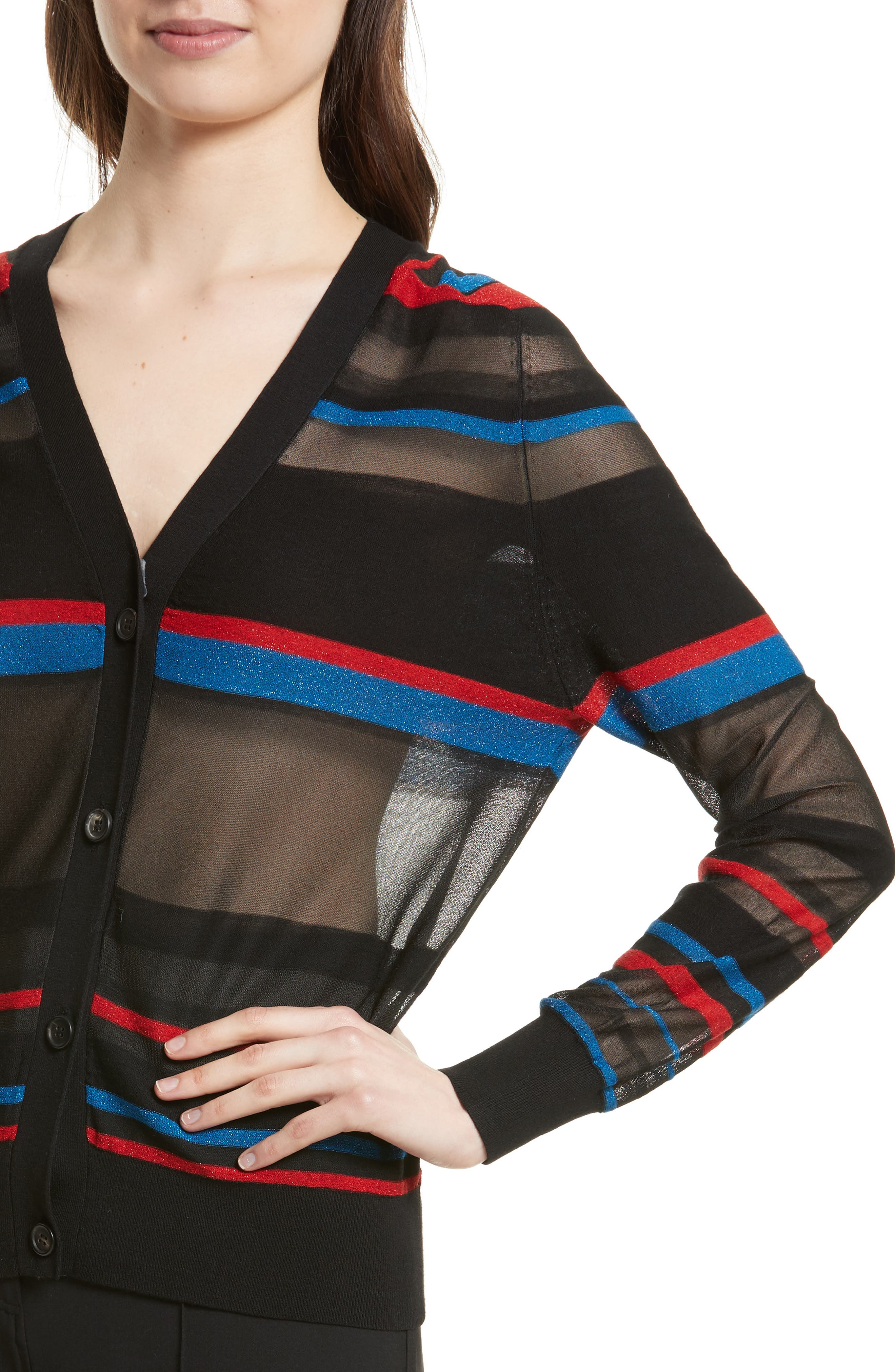 Stripe V-Neck Cardigan,                             Alternate thumbnail 4, color,