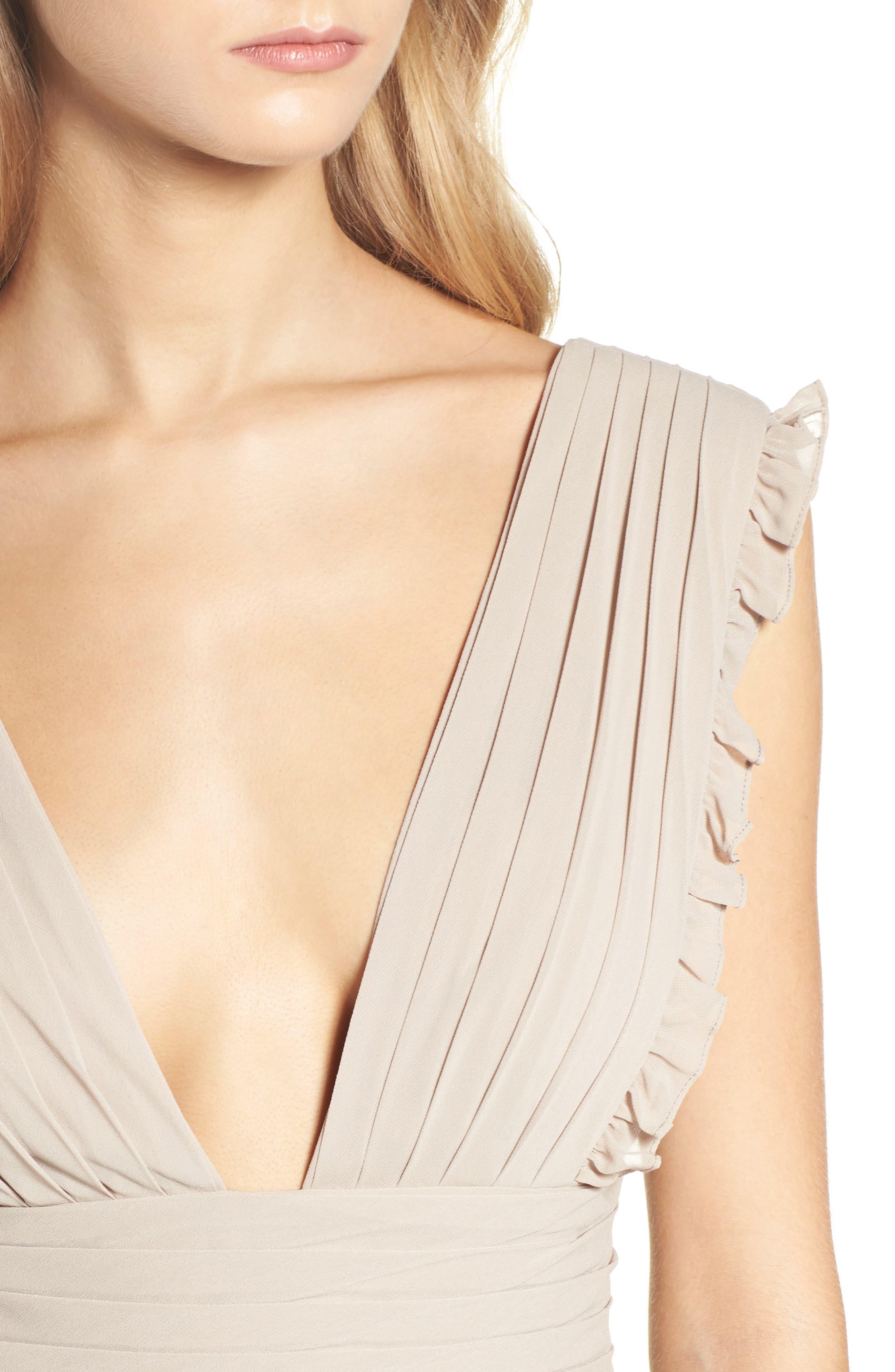 Deep V-Neck Ruffle Pleat Chiffon Gown,                             Alternate thumbnail 23, color,
