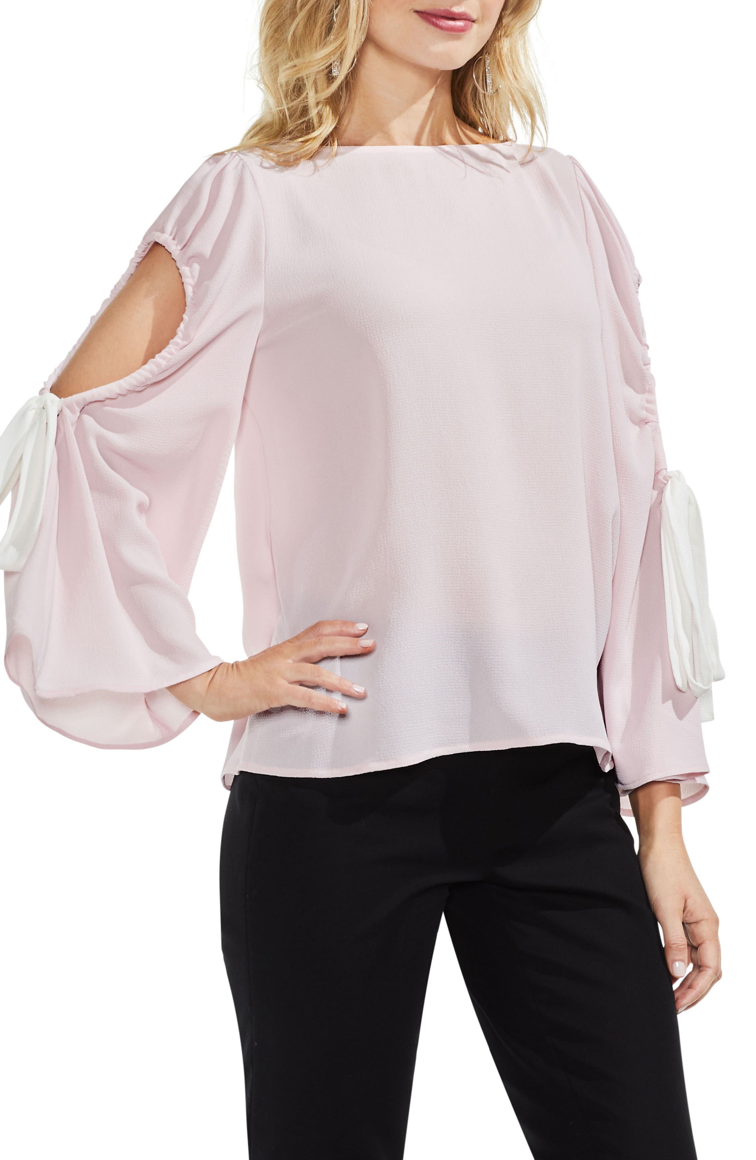Bell Sleeve Contrast Tie Cold Shoulder Top,                             Main thumbnail 4, color,