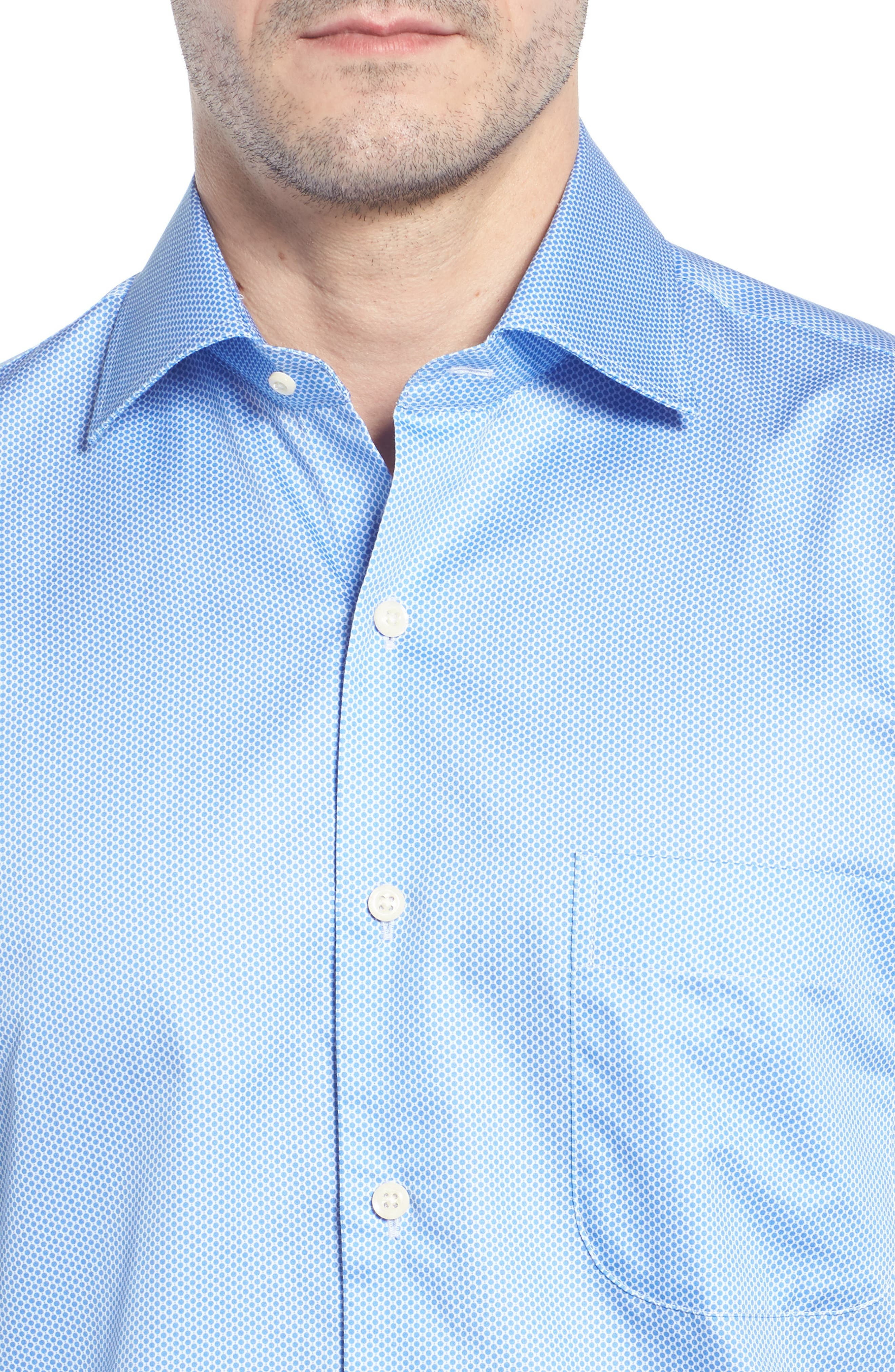 Crown Ease Connecting the Dots Sport Shirt,                             Alternate thumbnail 4, color,                             ATLAS BLUE