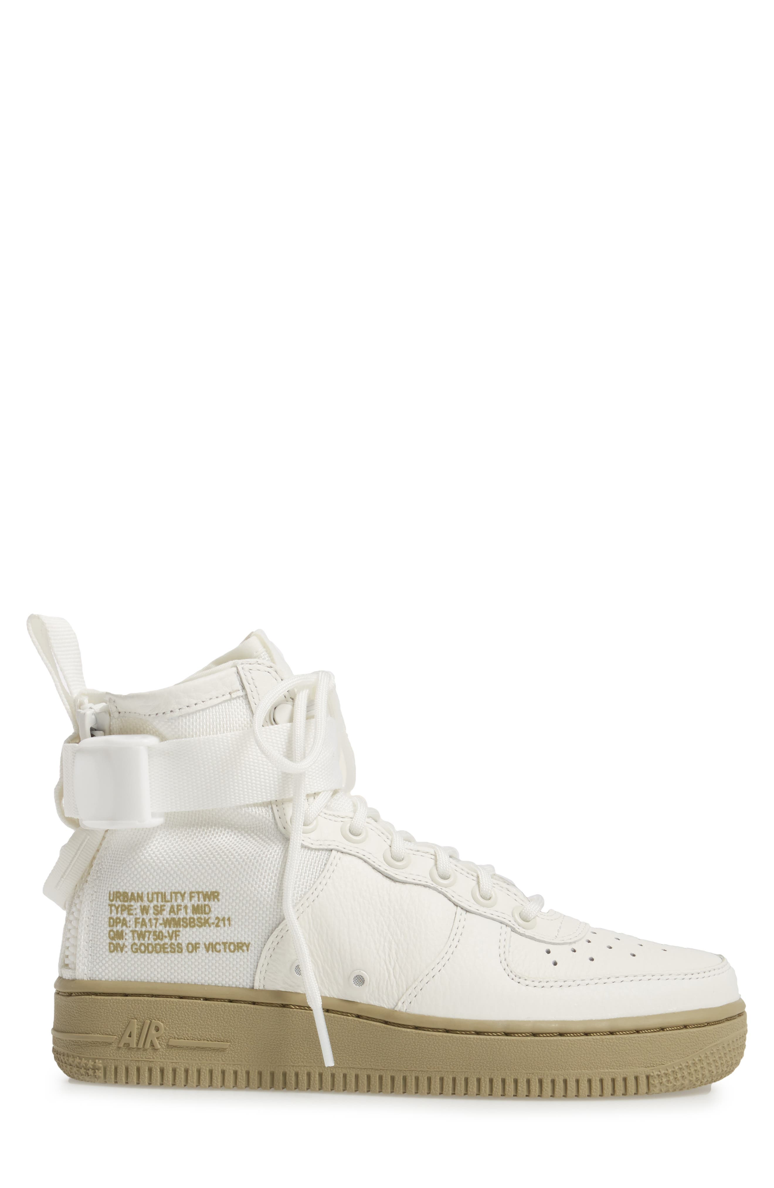 SF Air Force 1 Mid Sneaker,                             Alternate thumbnail 3, color,                             IVORY/IVORY-MARS STONE