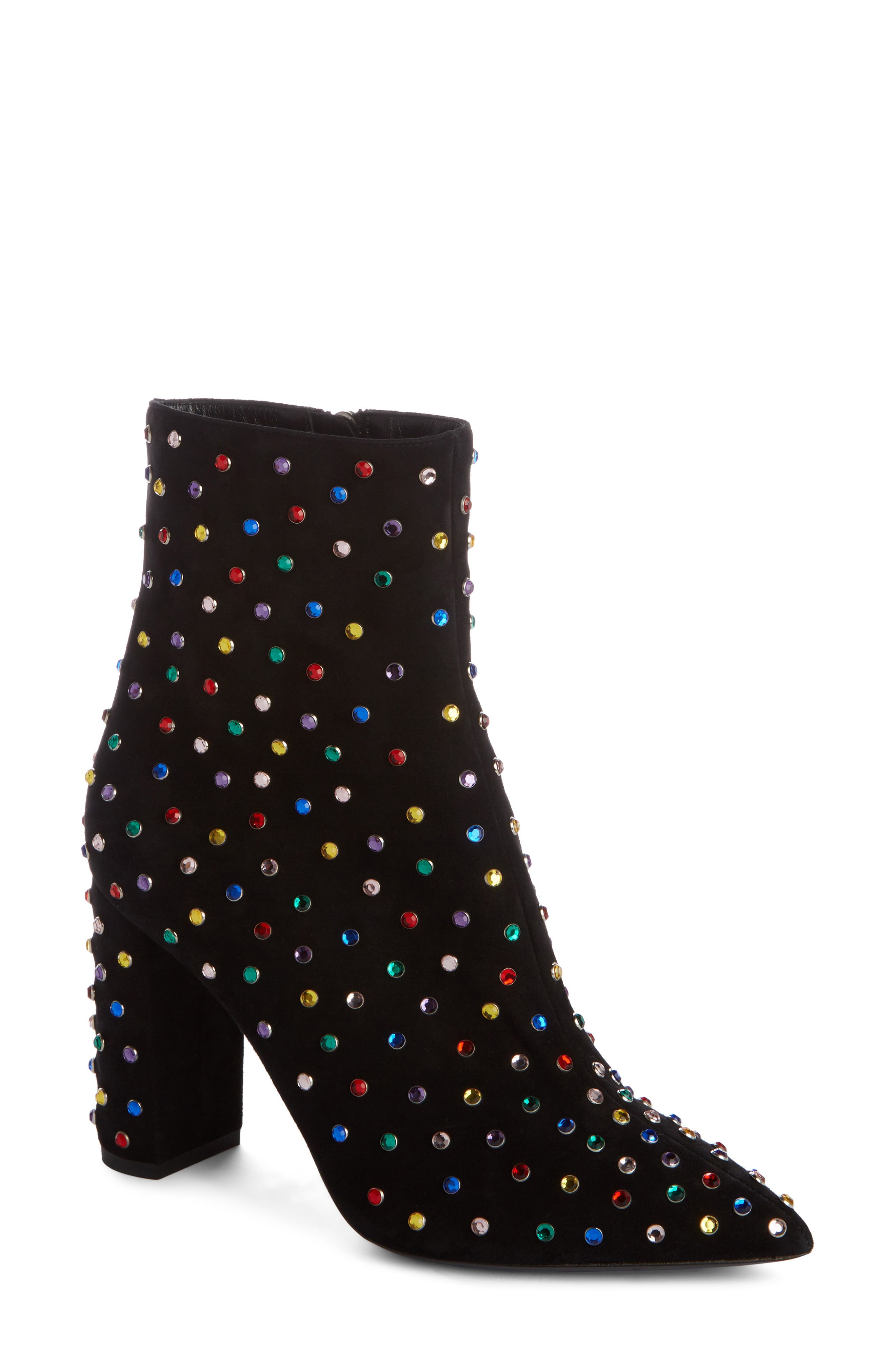 Betty Crystal Stud Pointy Toe Bootie,                         Main,                         color, BLACK