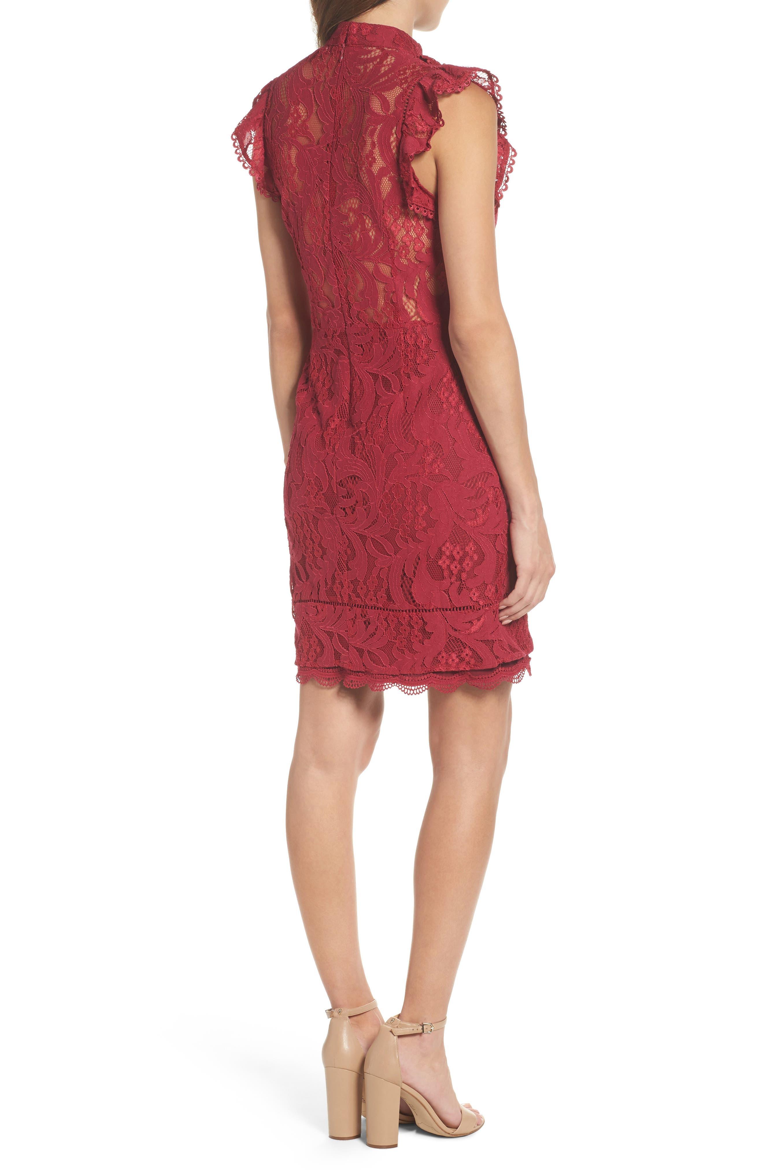 Delilah Lace Sheath Dress,                             Alternate thumbnail 4, color,