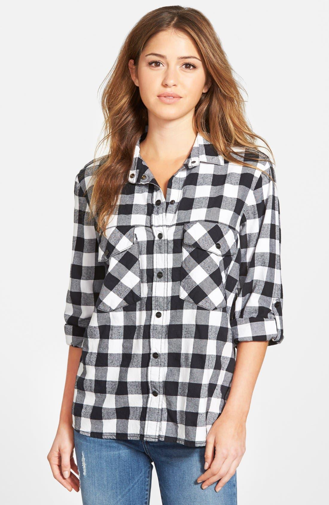 SANCTUARY Plaid Boyfriend Shirt, Main, color, 001