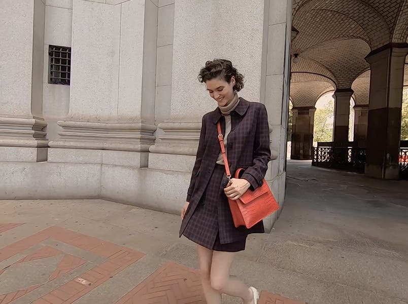 Women's structured satchel.