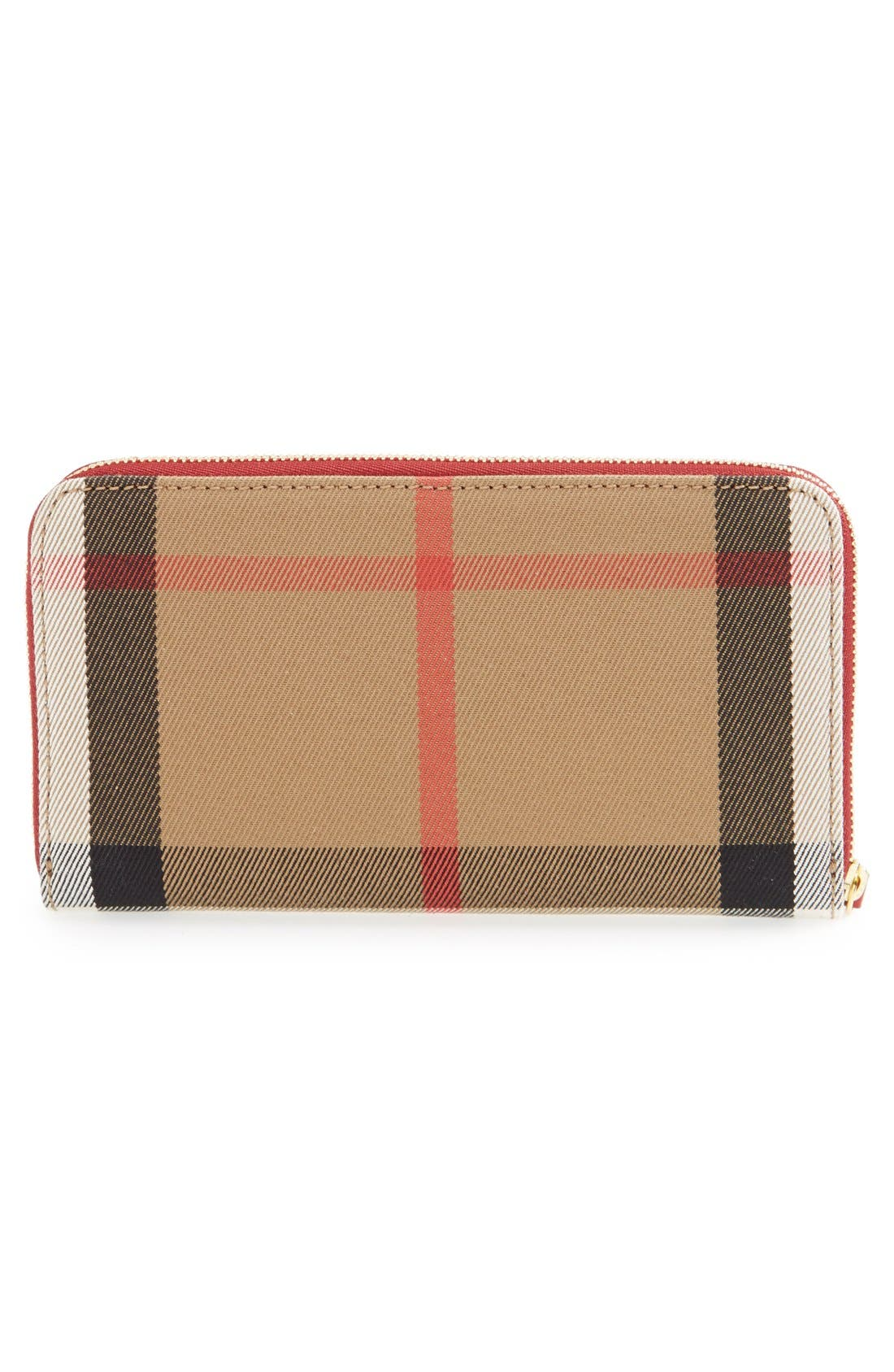 'Elmore' House Check & Leather Zip Around Wallet,                             Alternate thumbnail 2, color,                             600