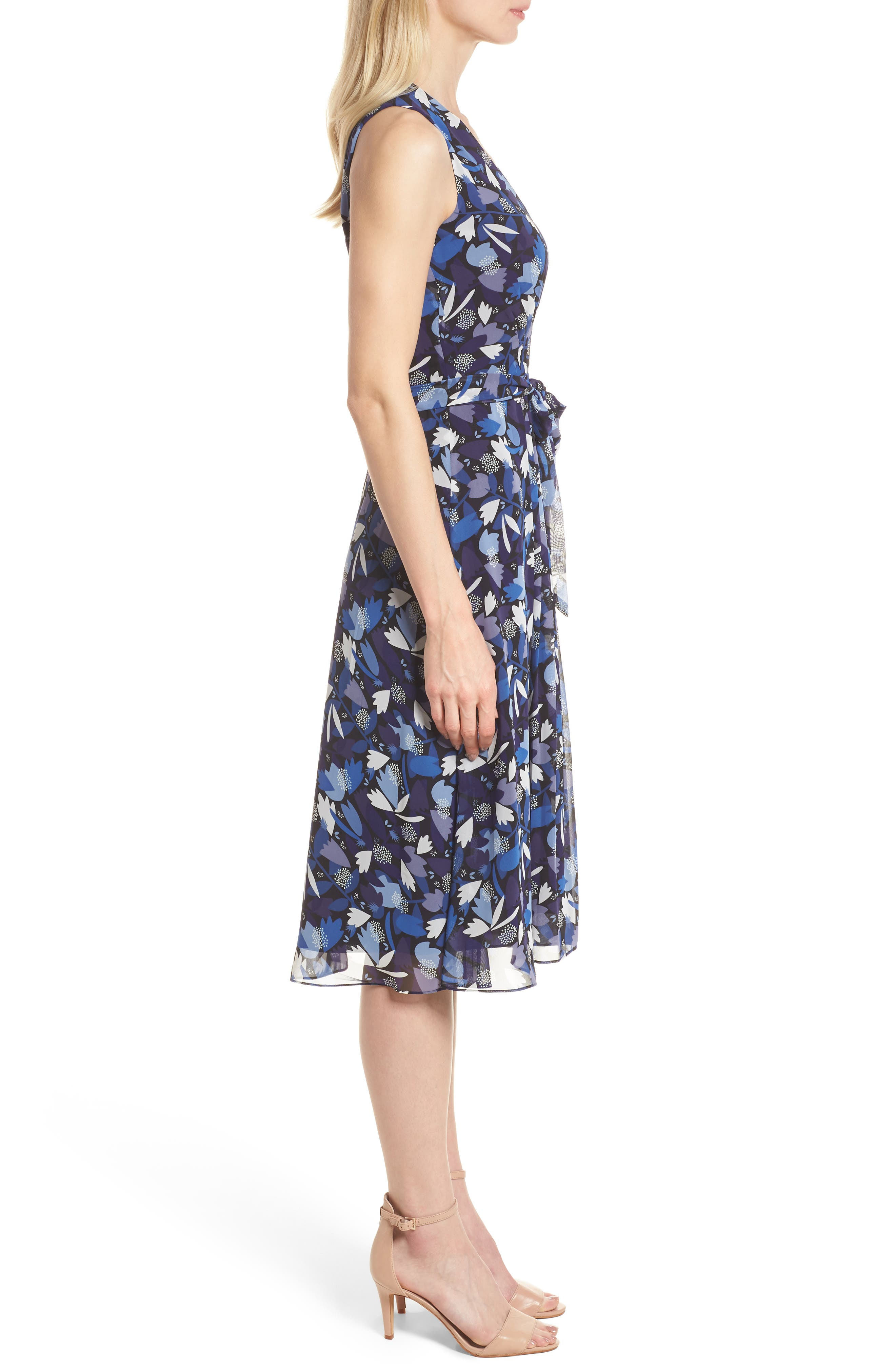 Amalfi Print Chiffon Dress,                             Alternate thumbnail 3, color,                             410