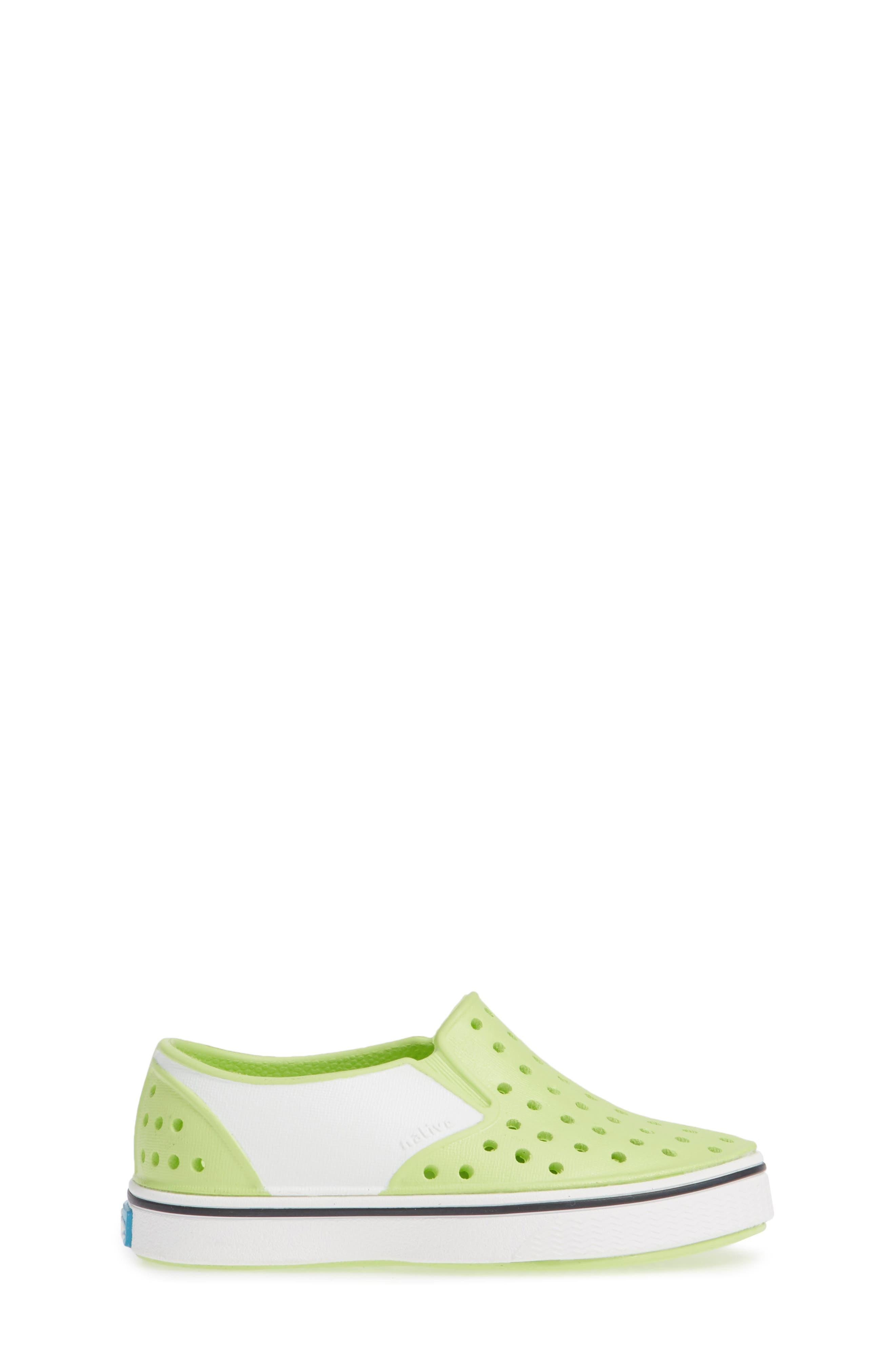 Miles Colorblock Slip-On Sneaker,                             Alternate thumbnail 3, color,                             SUNNY GREEN/ SHELL WHITE