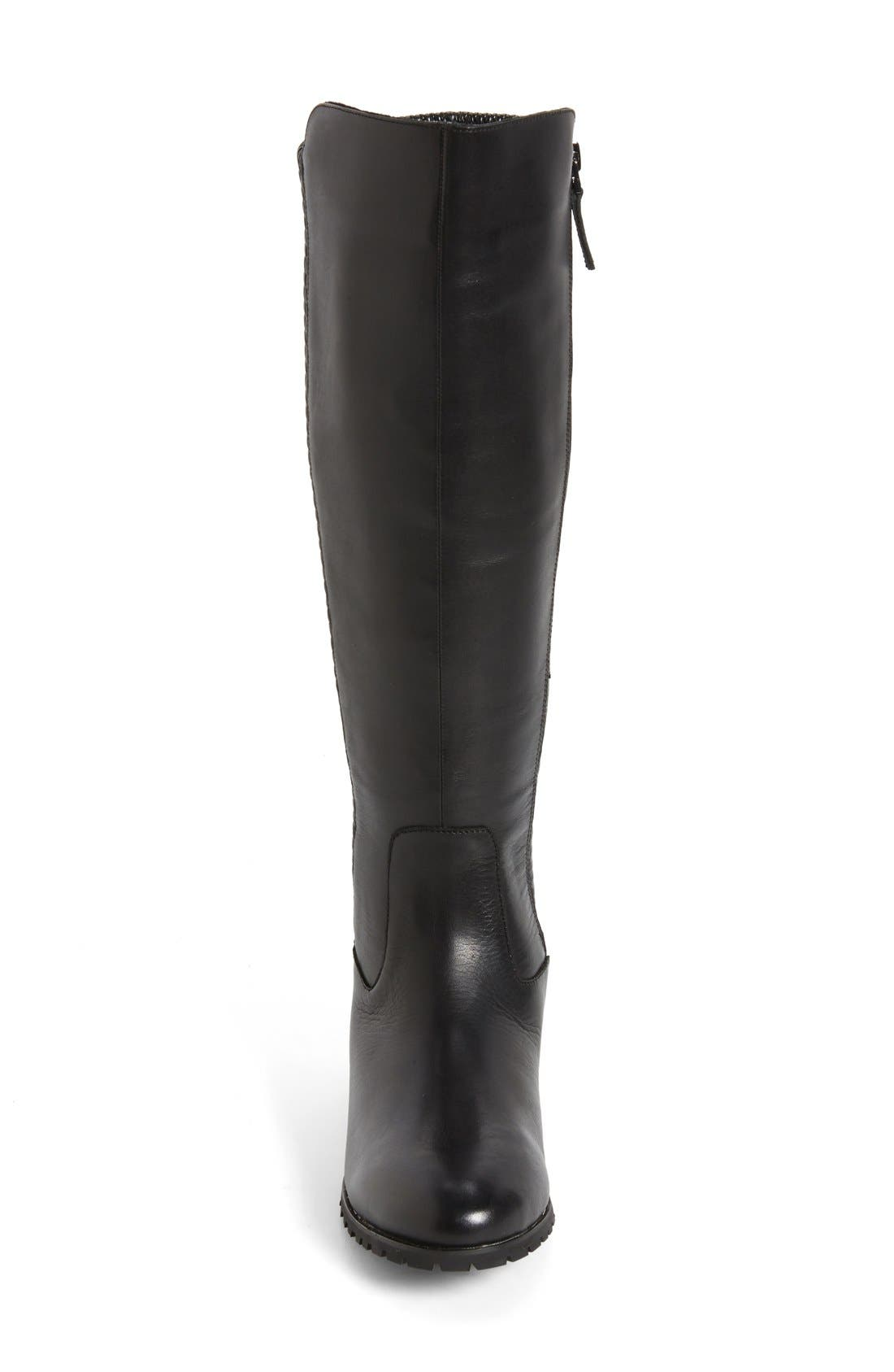 'Fabiana' Tall Boot,                             Alternate thumbnail 3, color,                             BLACK LEATHER