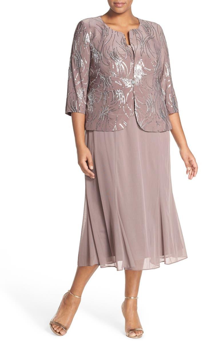 2459953f62d Alex Evenings Sequin Mock Two-Piece Dress with Jacket (Plus Size ...