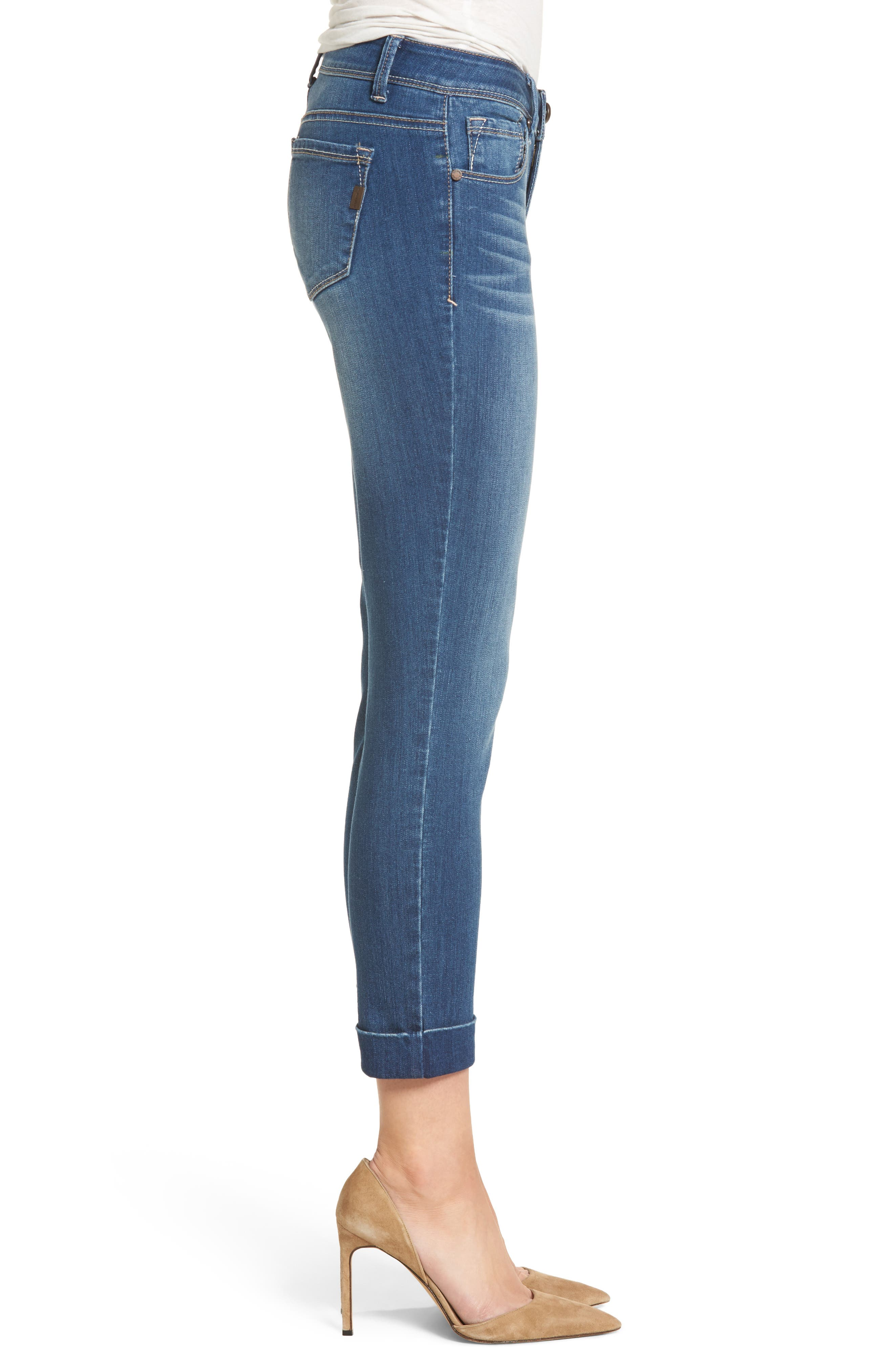 Cuff Roll Skinny Crop Jeans,                             Alternate thumbnail 3, color,                             LOUISE
