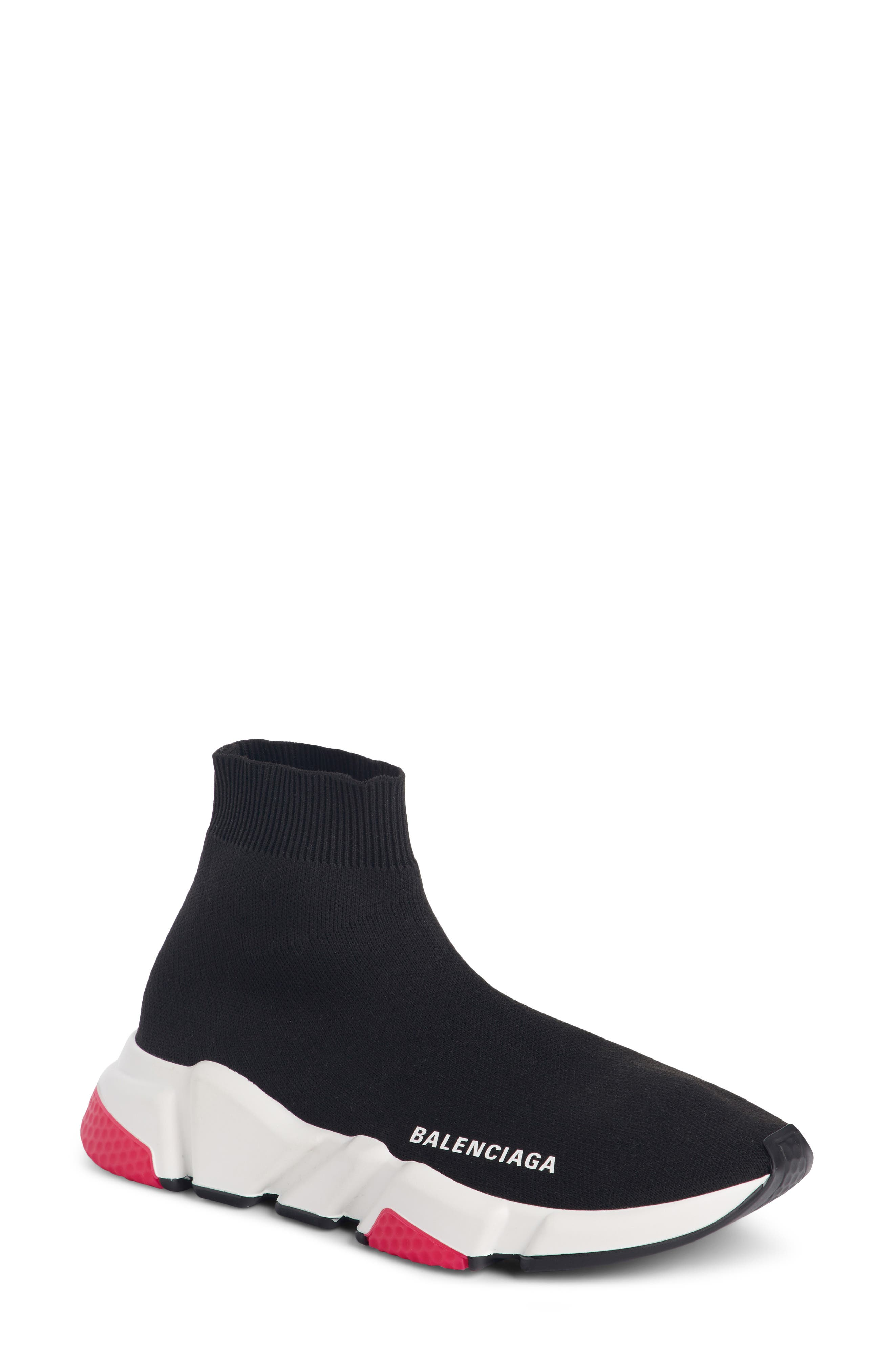 BALENCIAGA,                             Mid Speed Trainer Sock Sneaker,                             Main thumbnail 1, color,                             001