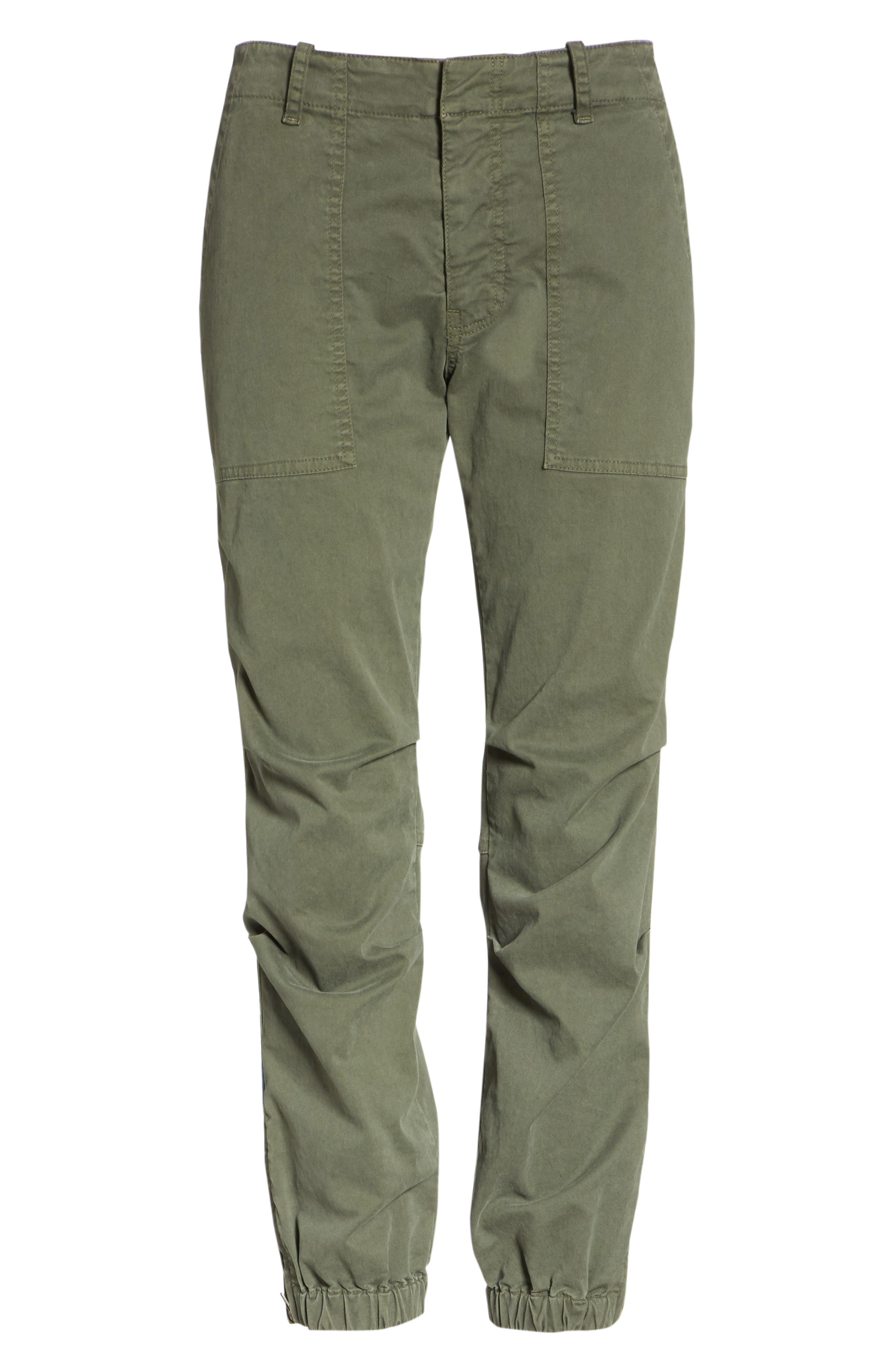 French Crop Military Pants,                             Alternate thumbnail 6, color,                             LODEN