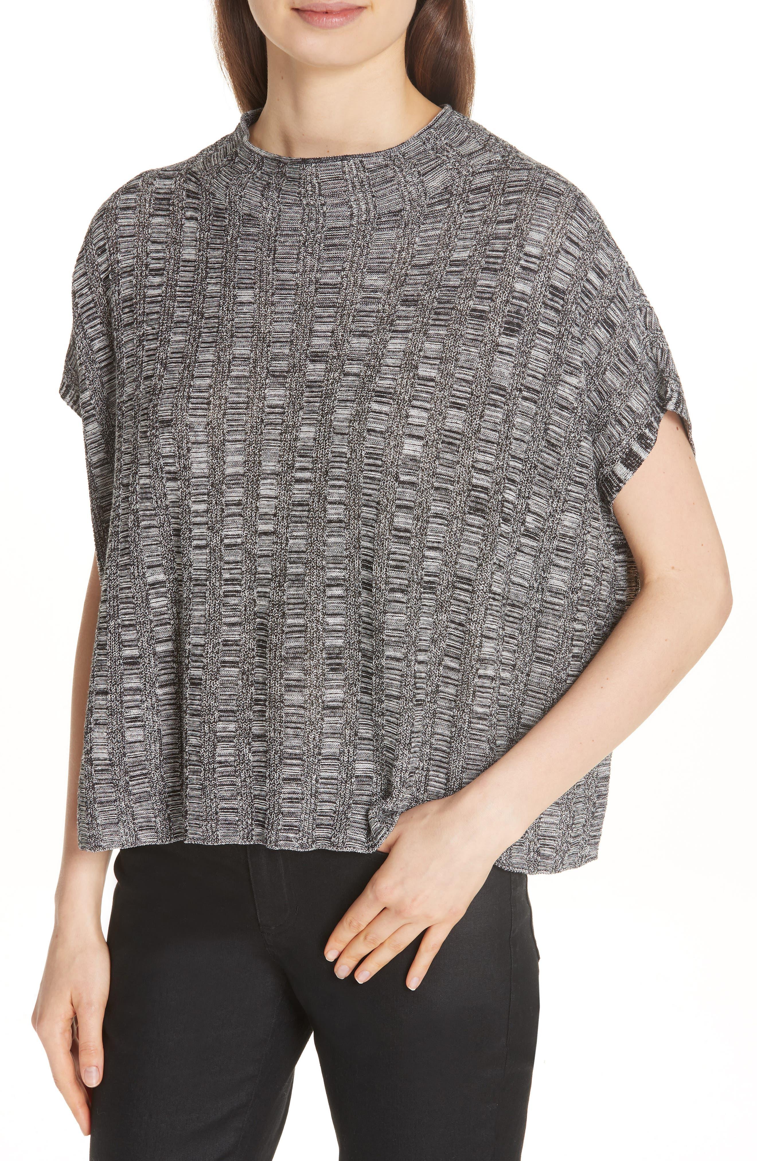 Silk & Organic Linen Sweater,                             Alternate thumbnail 4, color,                             001