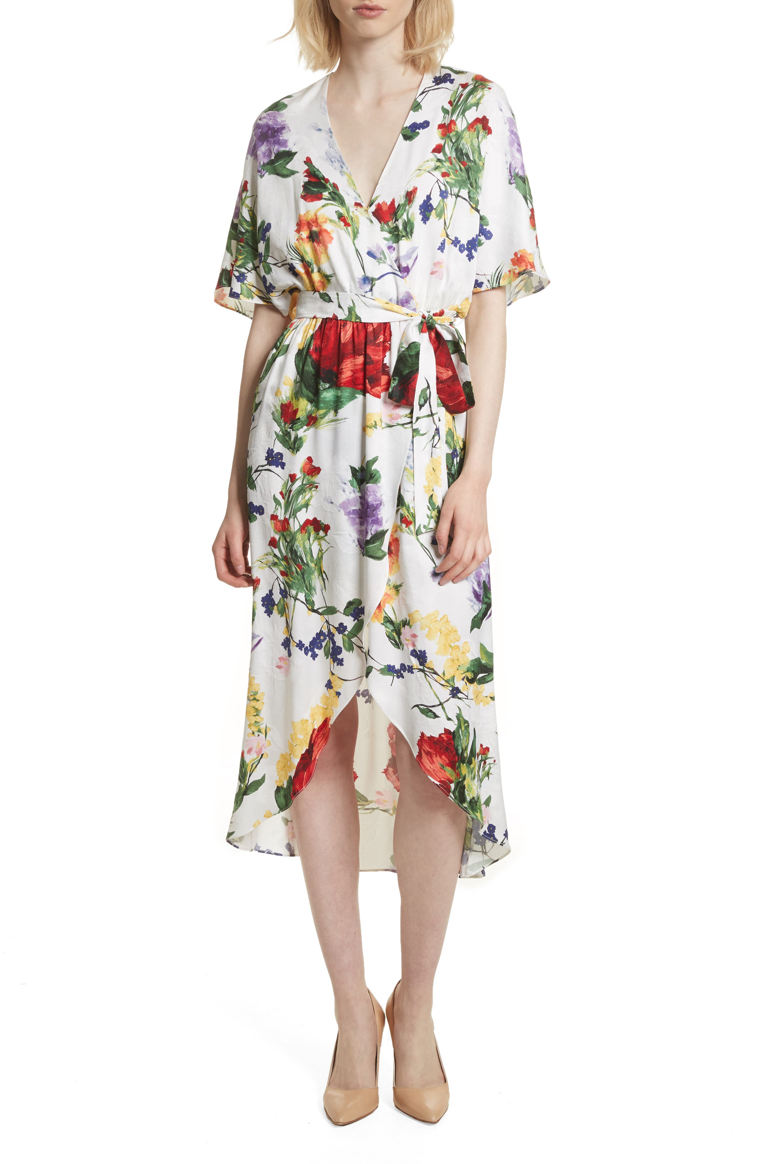 Clarine Floral Wrap Midi Dress,                         Main,                         color, 176