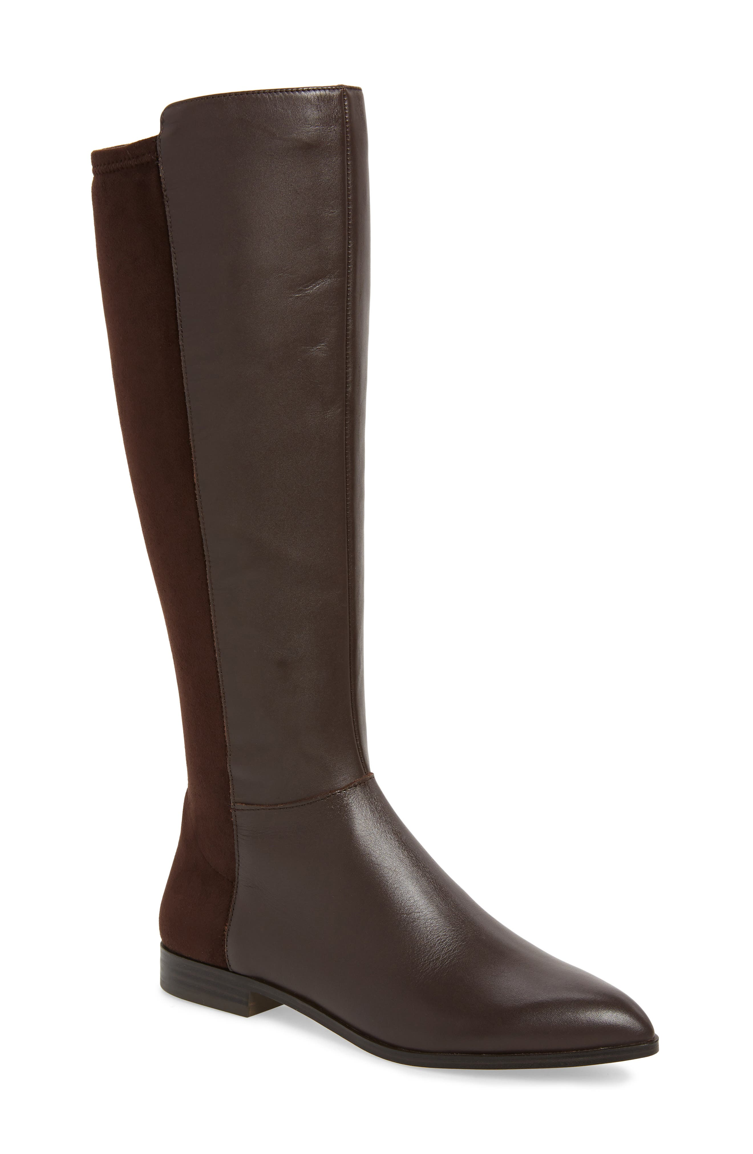 Nine West Owenford Knee High Riding Boot Wide Calf- Brown