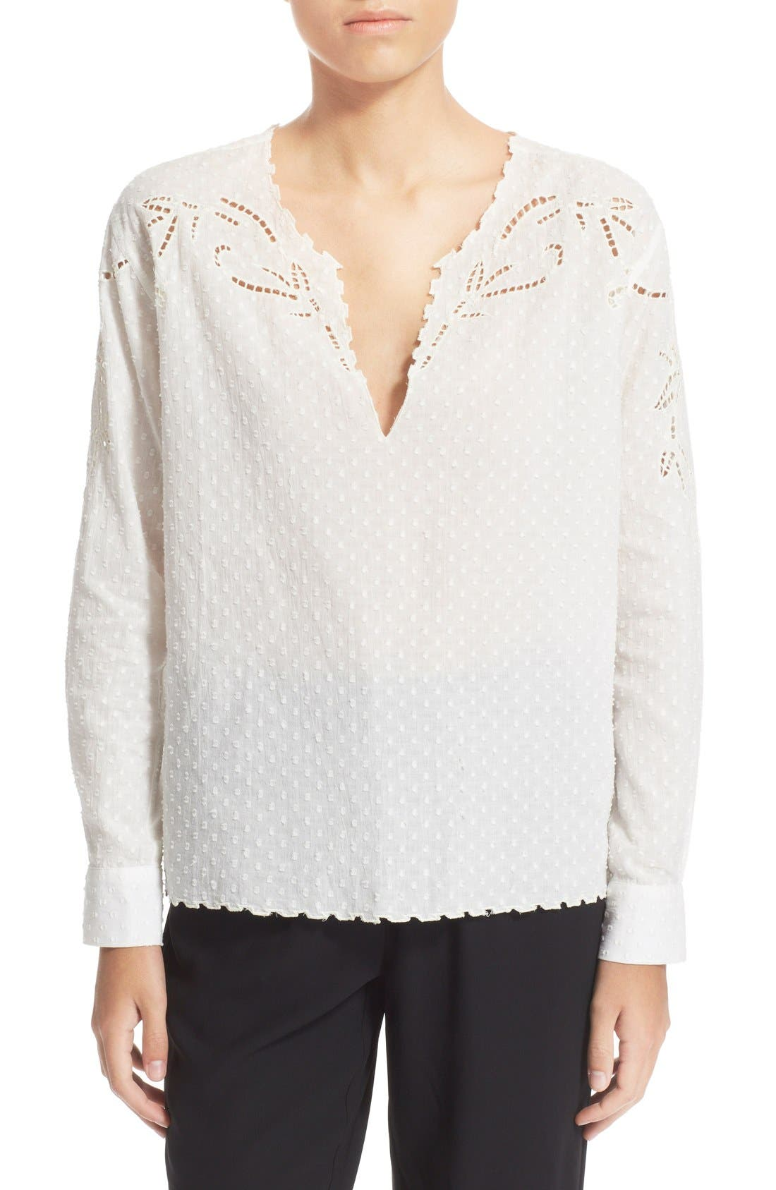 THE KOOPLES Broderie Anglasie Cotton Dobby Shirt, Main, color, 900