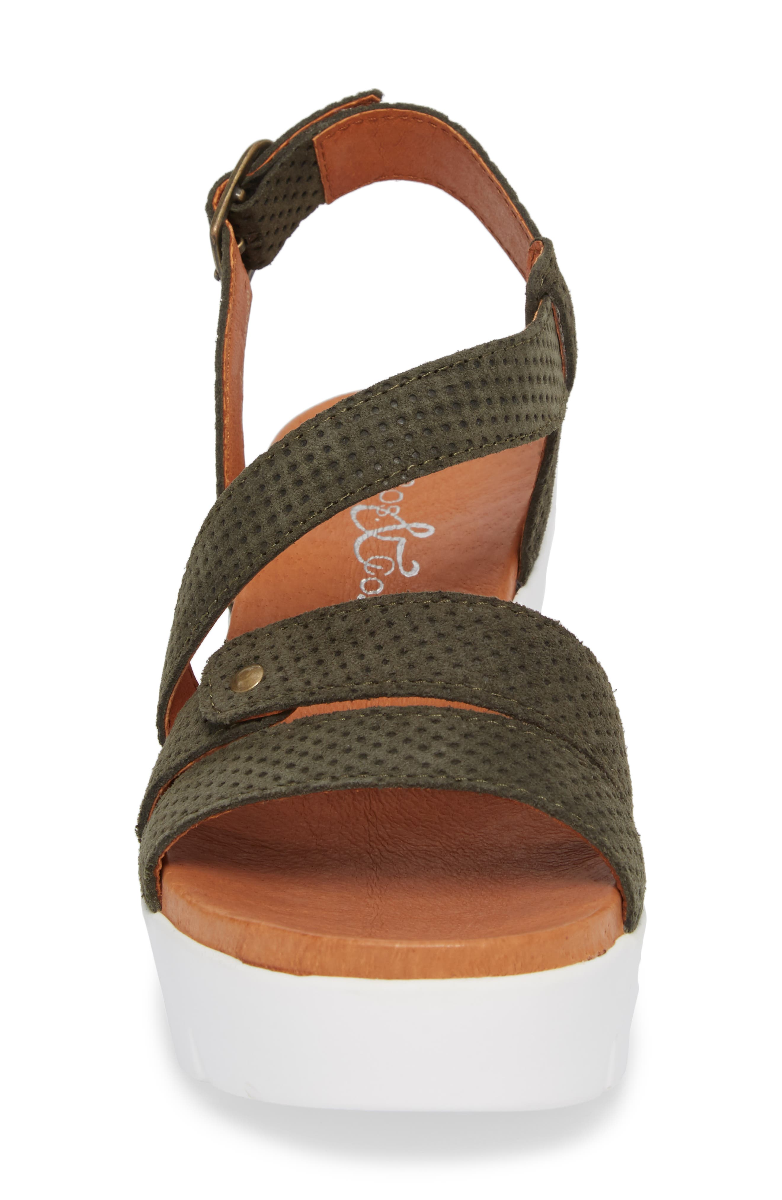 Sierra Platform Wedge Sandal,                             Alternate thumbnail 4, color,                             MINT LEATHER