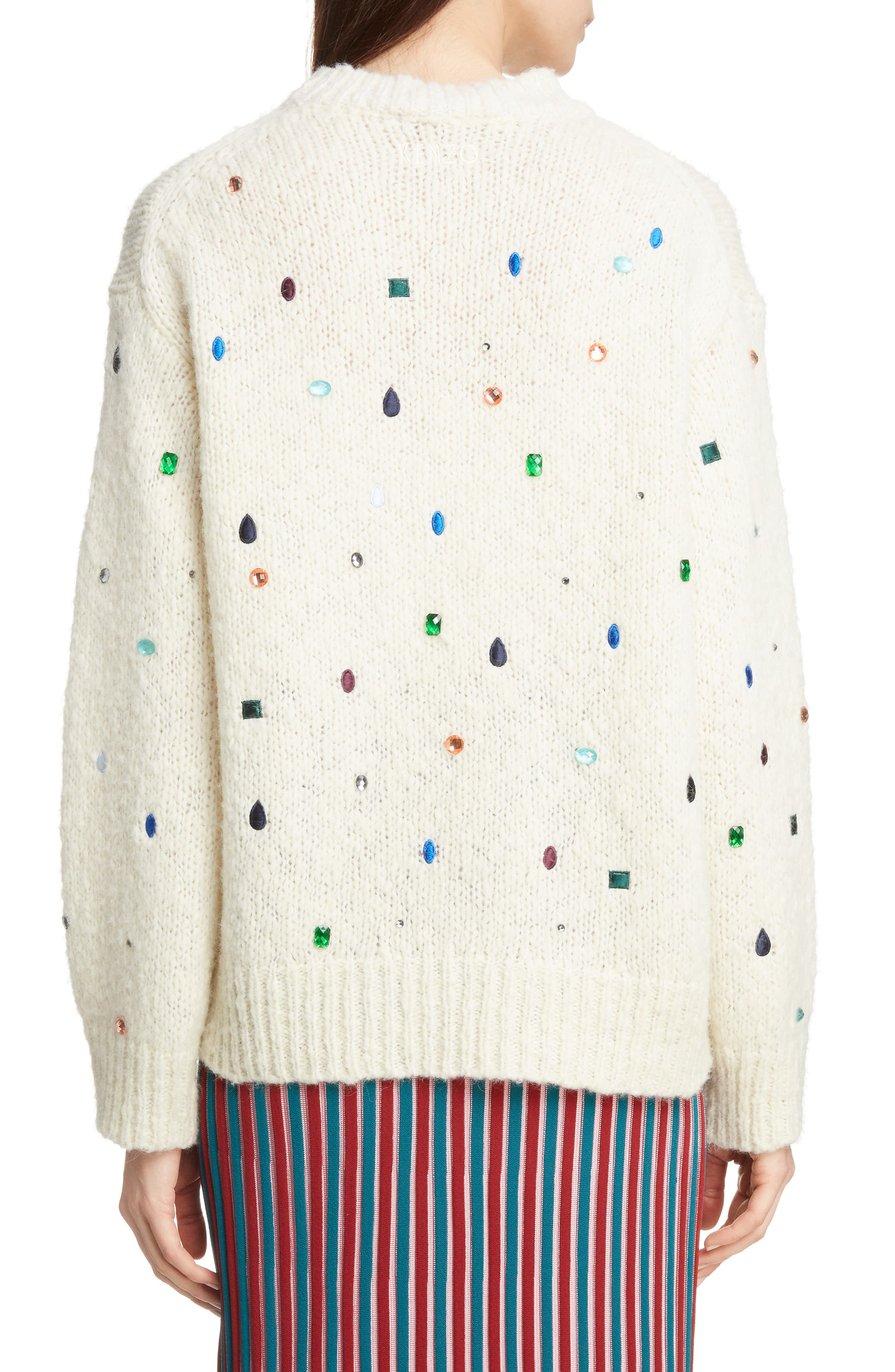 Embellished Comfort Sweater,                             Alternate thumbnail 2, color,                             WHITE