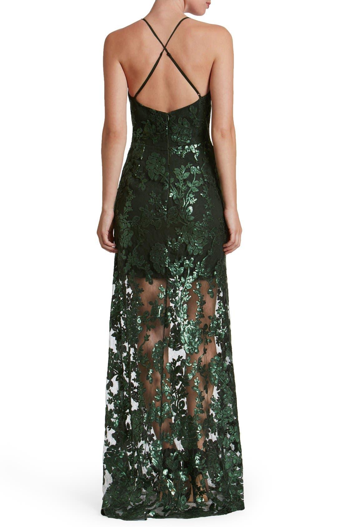 'Vivienne' Sequin Lace Gown,                             Alternate thumbnail 4, color,