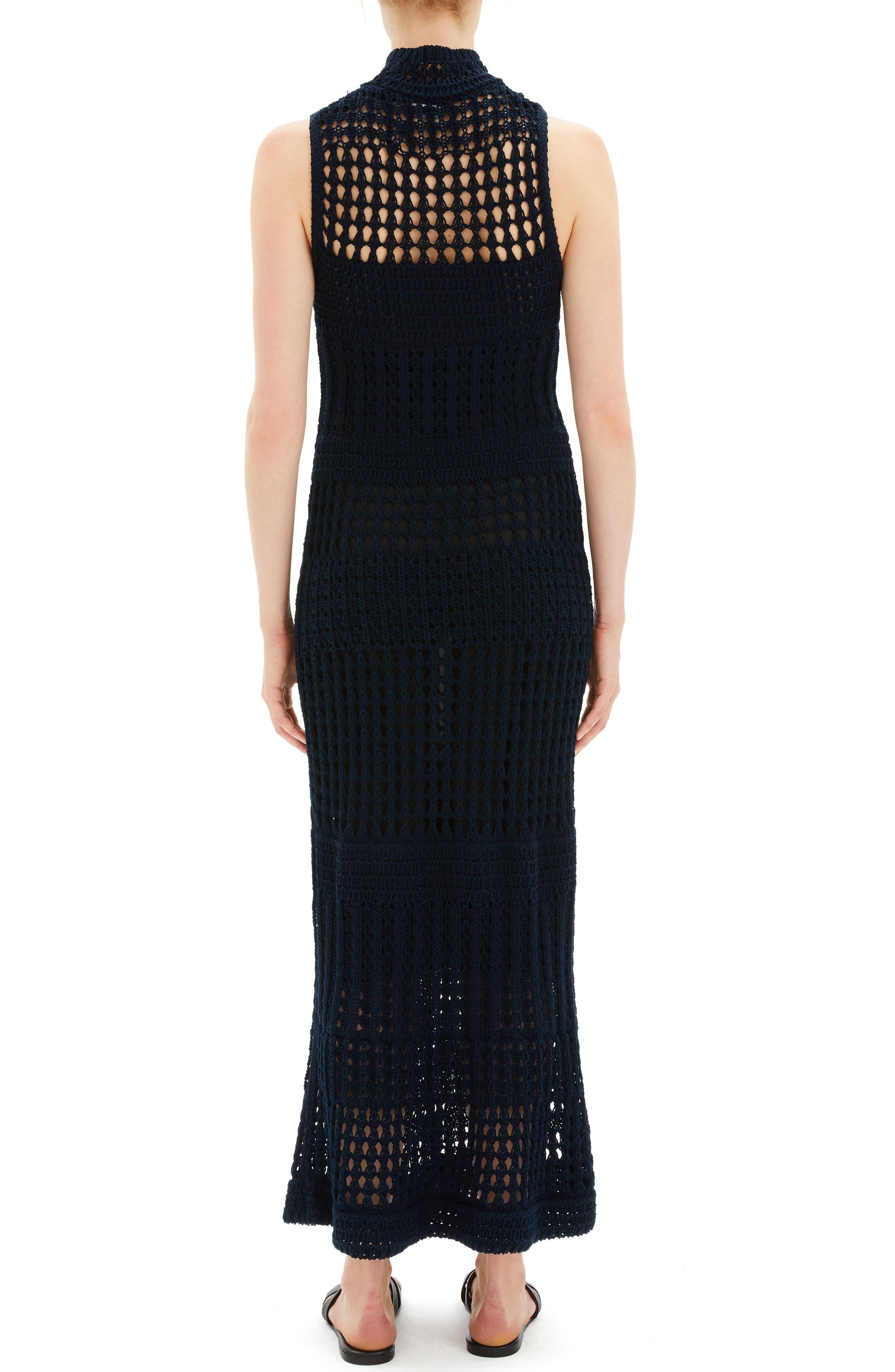 Mixed Knit Maxi Dress,                             Alternate thumbnail 2, color,                             DEEP NAVY