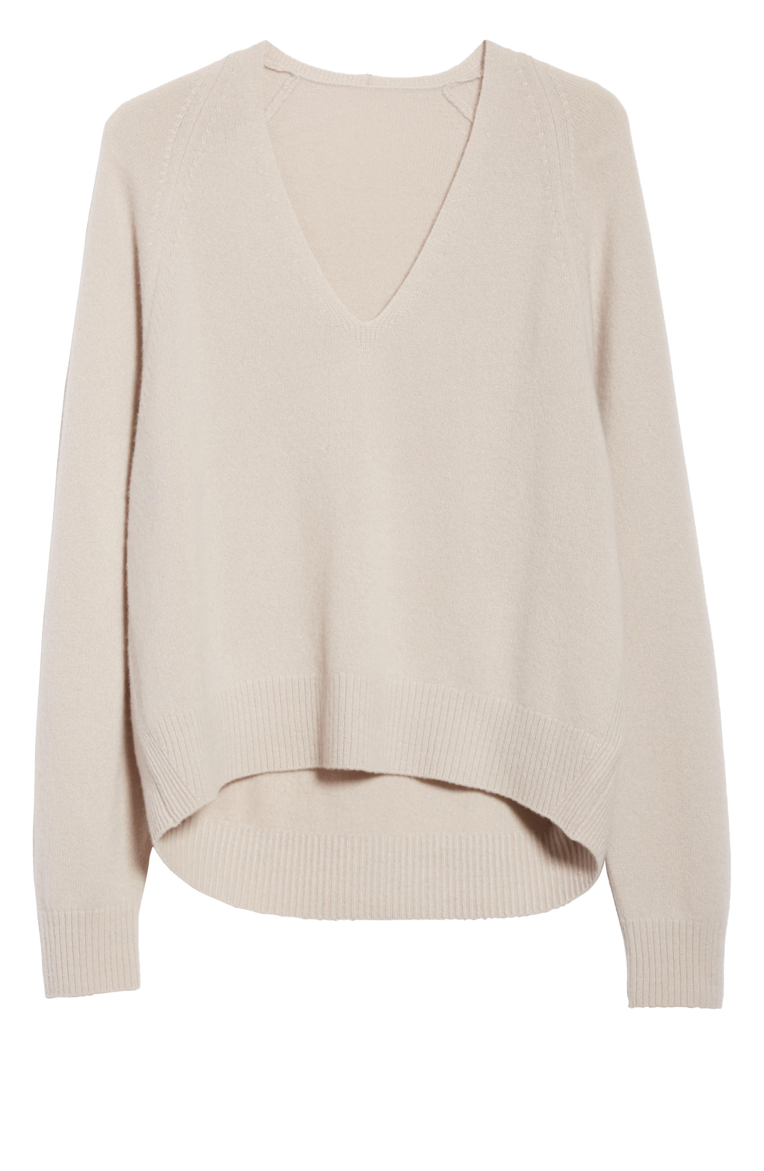 Deep V-Neck Cashmere Sweater,                             Alternate thumbnail 6, color,                             254