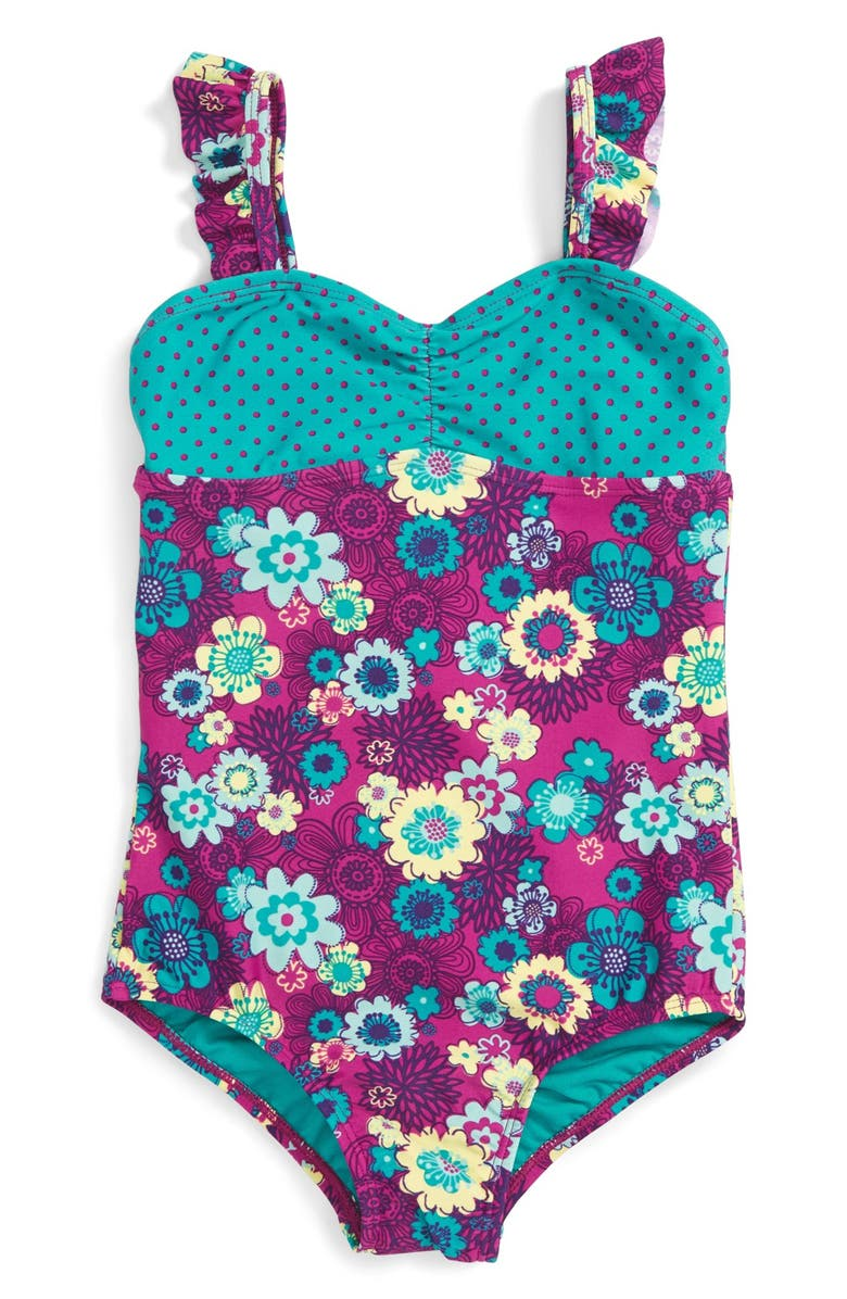 7bf82a1678 Roxy  Sweet Floral  Ruffle Strap One-Piece Swimsuit (Baby Girls ...