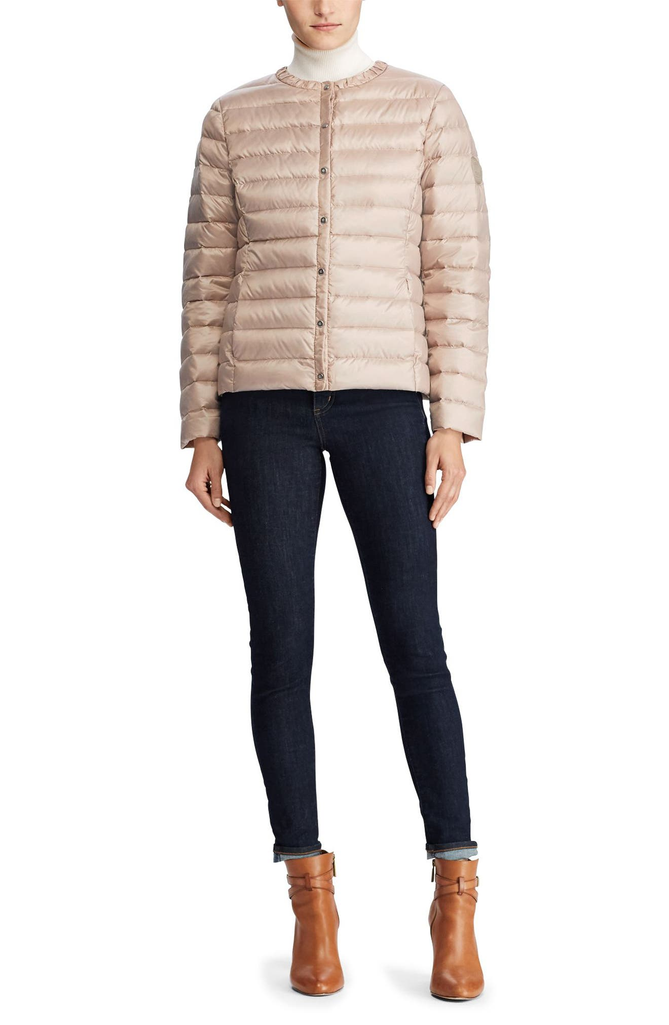 Packable Quilted Collarless Down Jacket,                             Alternate thumbnail 3, color,                             286