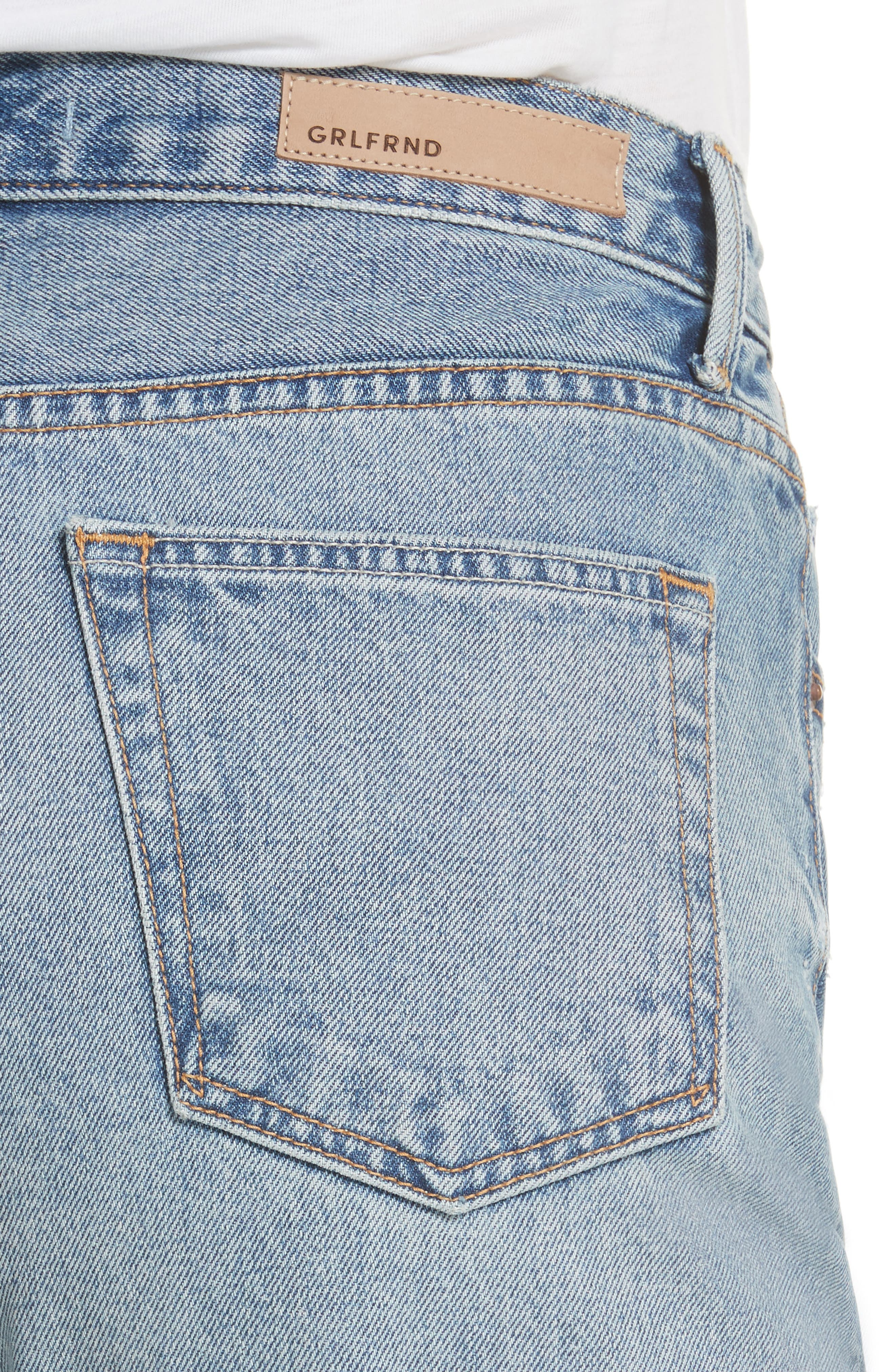 Helena Ripped Rigid High Waist Straight Jeans,                             Alternate thumbnail 4, color,                             487