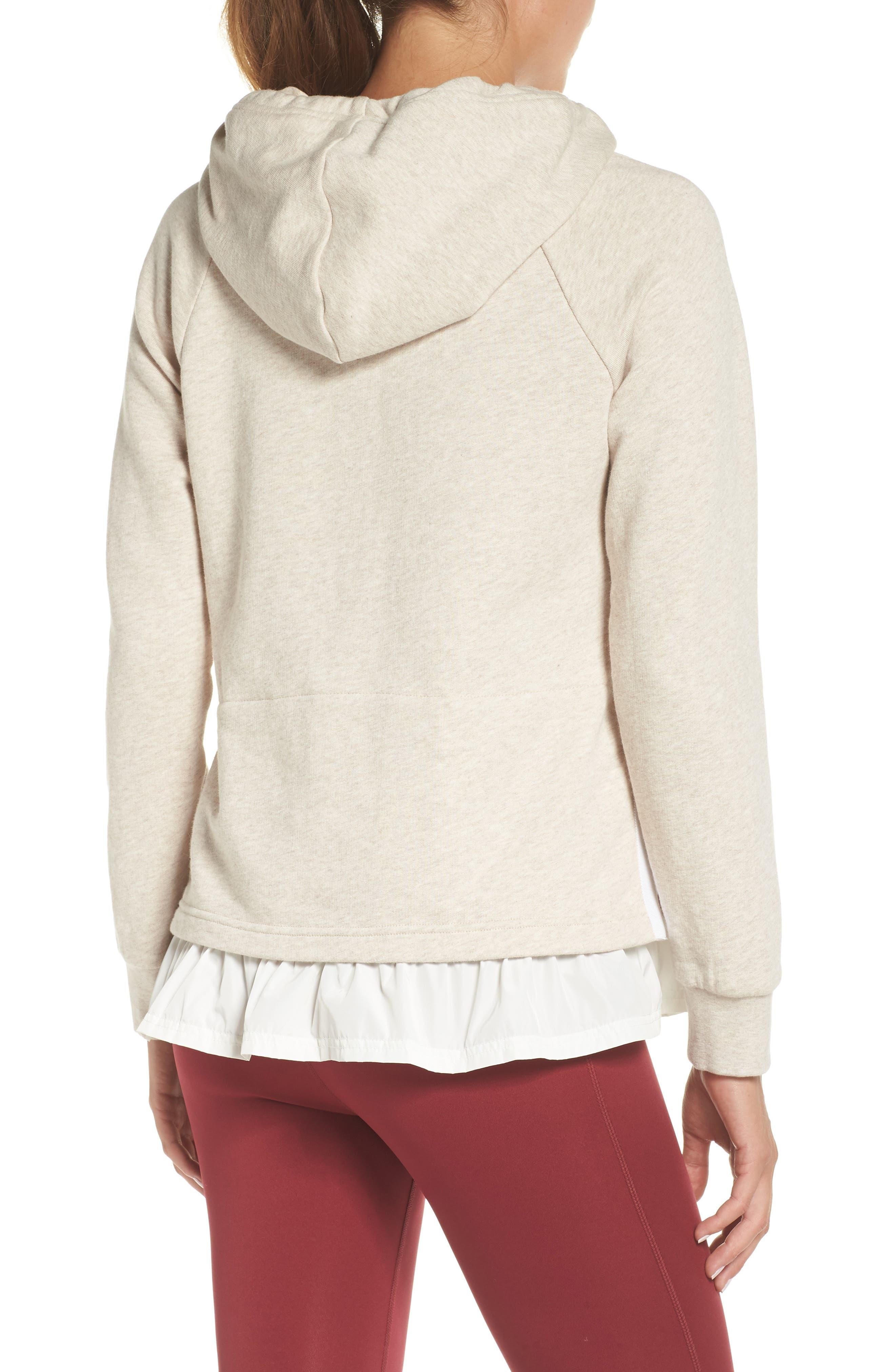 ruffle hoodie,                             Alternate thumbnail 2, color,                             OATMEAL MELANGE