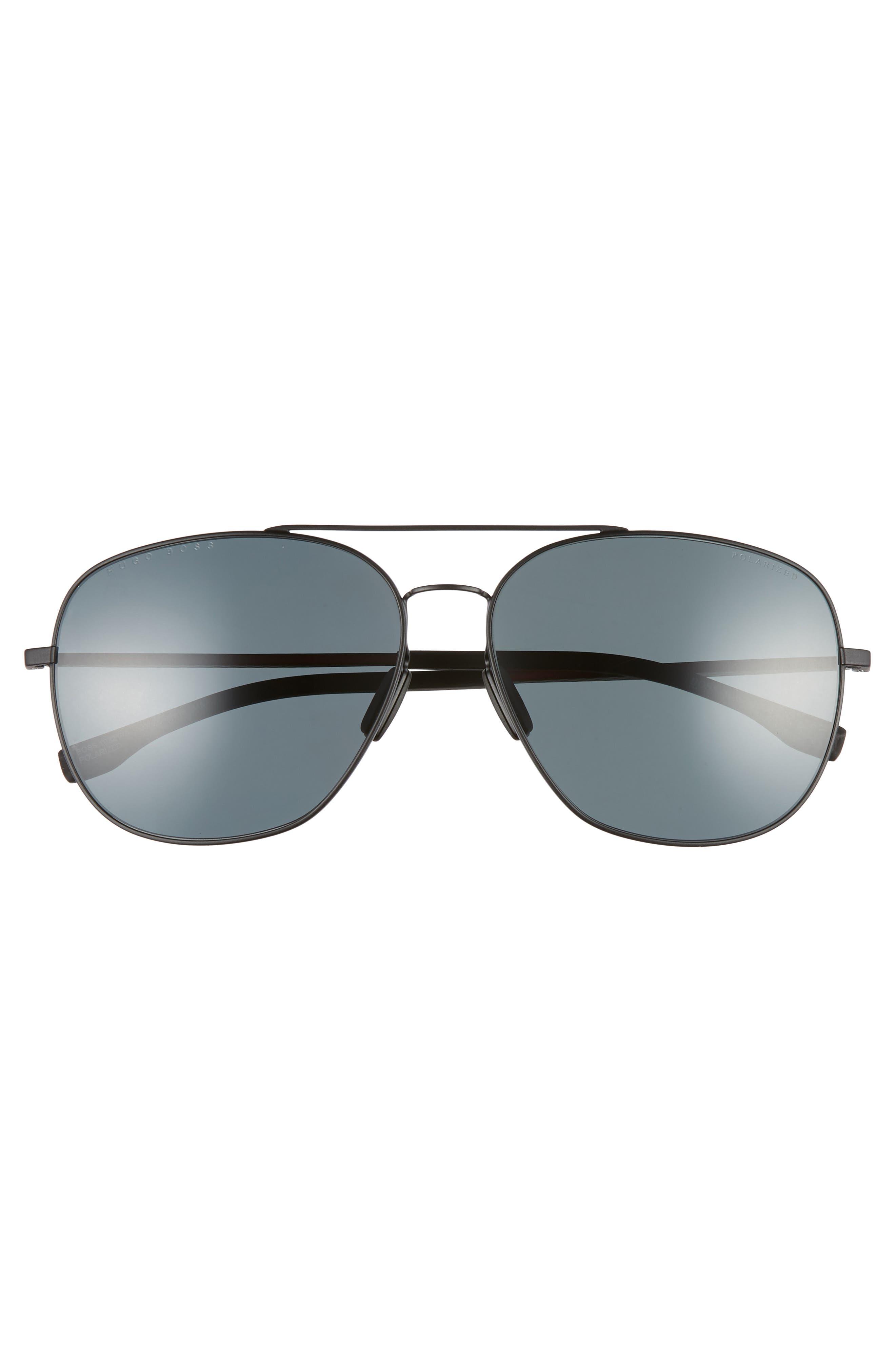 62mm Polarized Special Fit Aviator Sunglasses,                             Alternate thumbnail 2, color,                             MATTE BLACK