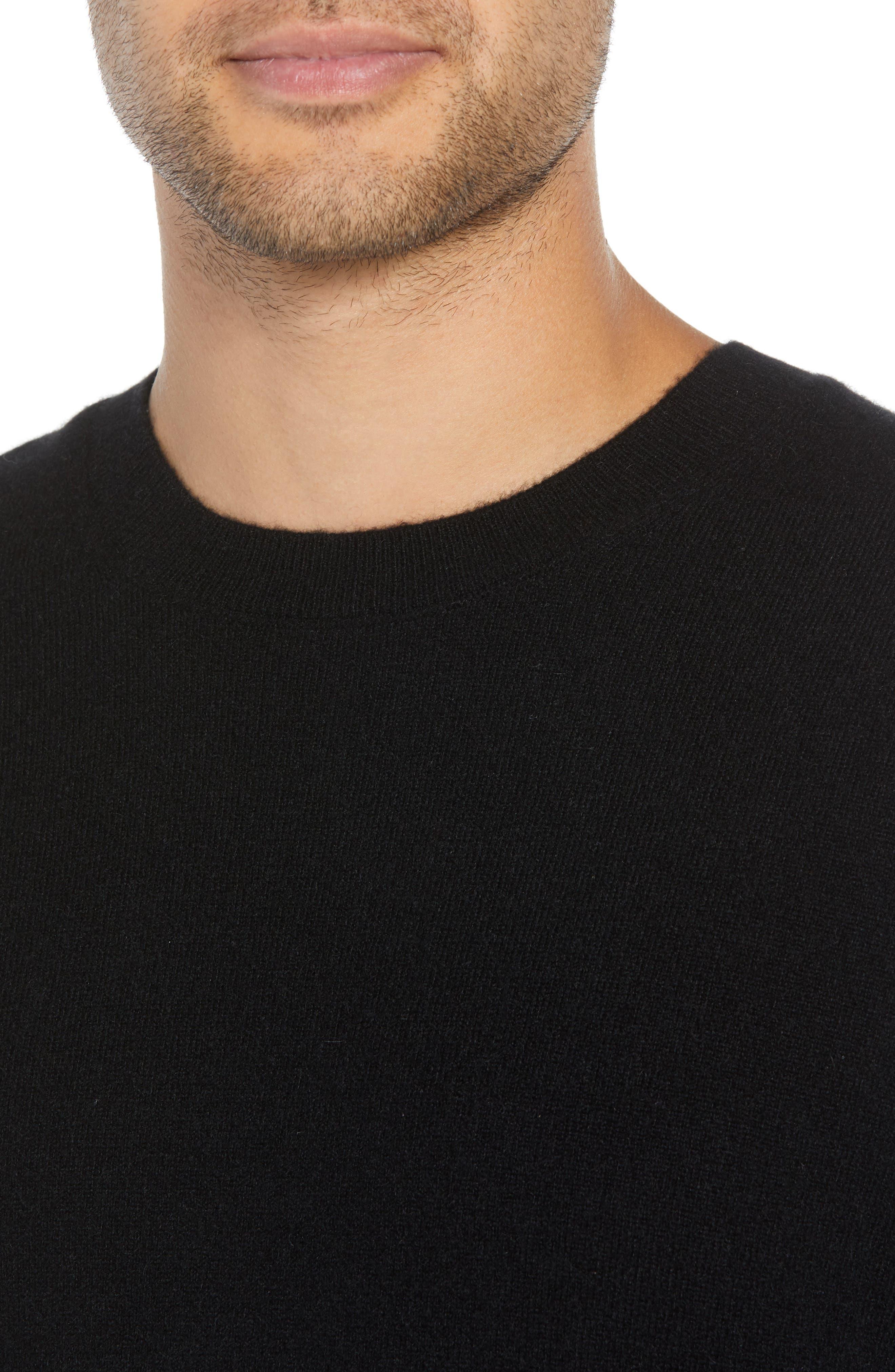 Regular Fit Cashmere Sweater,                             Alternate thumbnail 4, color,                             BLACK