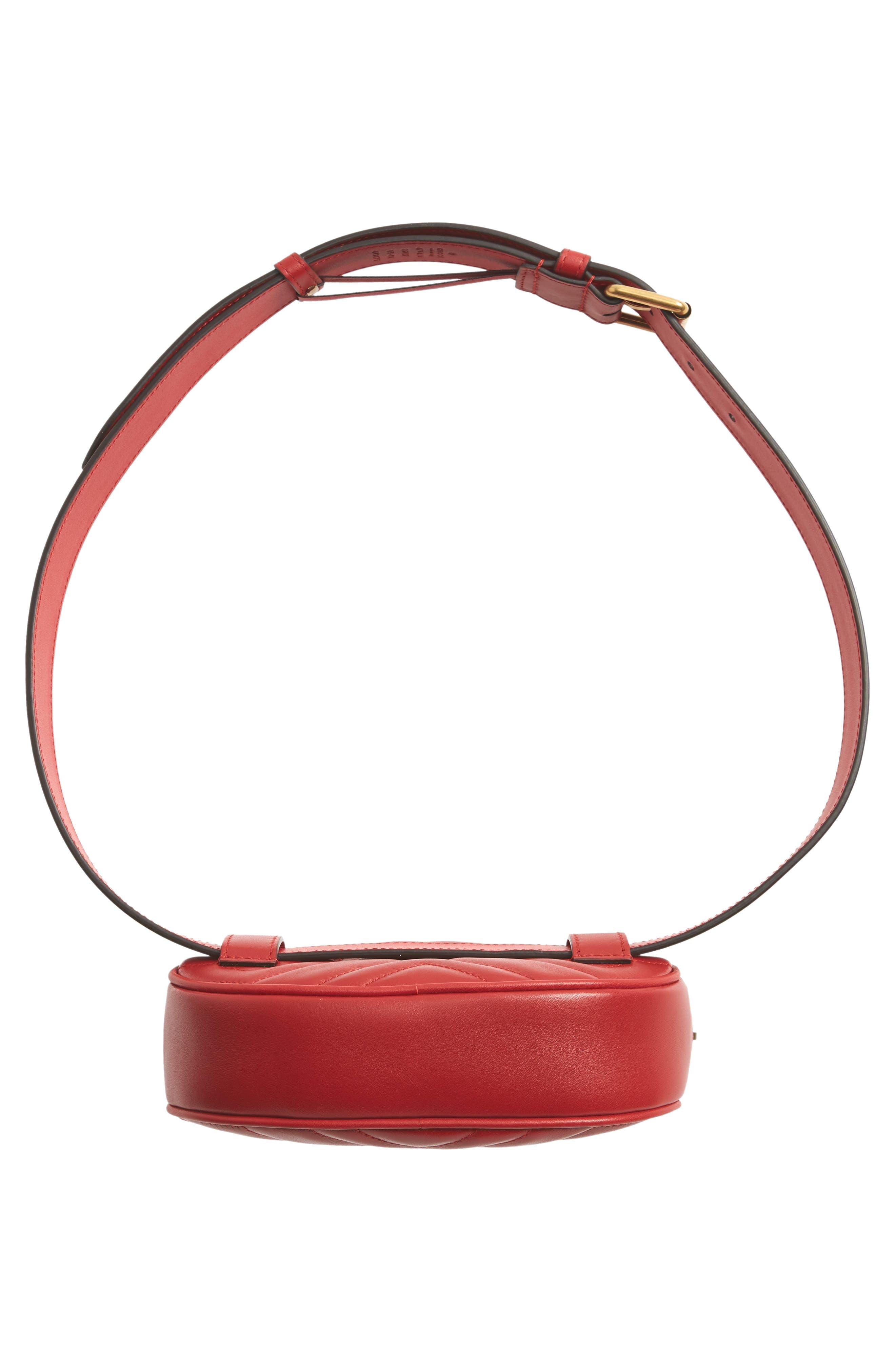 GG Marmont Matelassé Leather Belt Bag,                             Alternate thumbnail 7, color,                             625