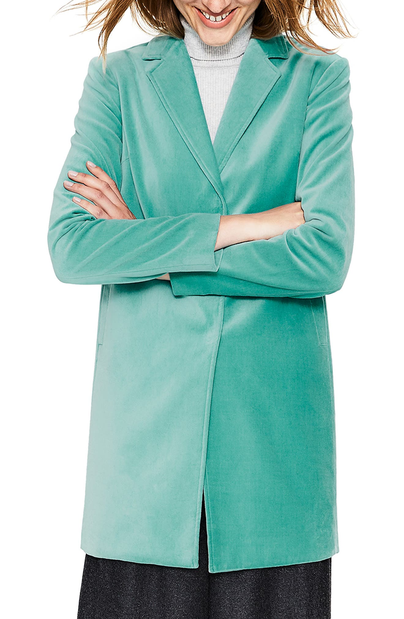 Sally Long Velvet Jacket,                         Main,                         color, BREEZE BN764