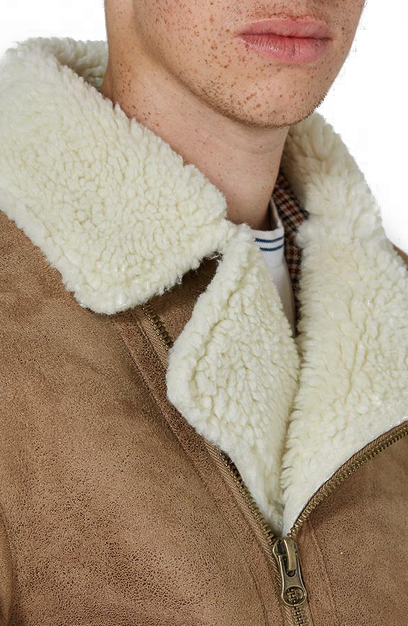 Borg Collar Faux Shearling Jacket,                             Alternate thumbnail 6, color,