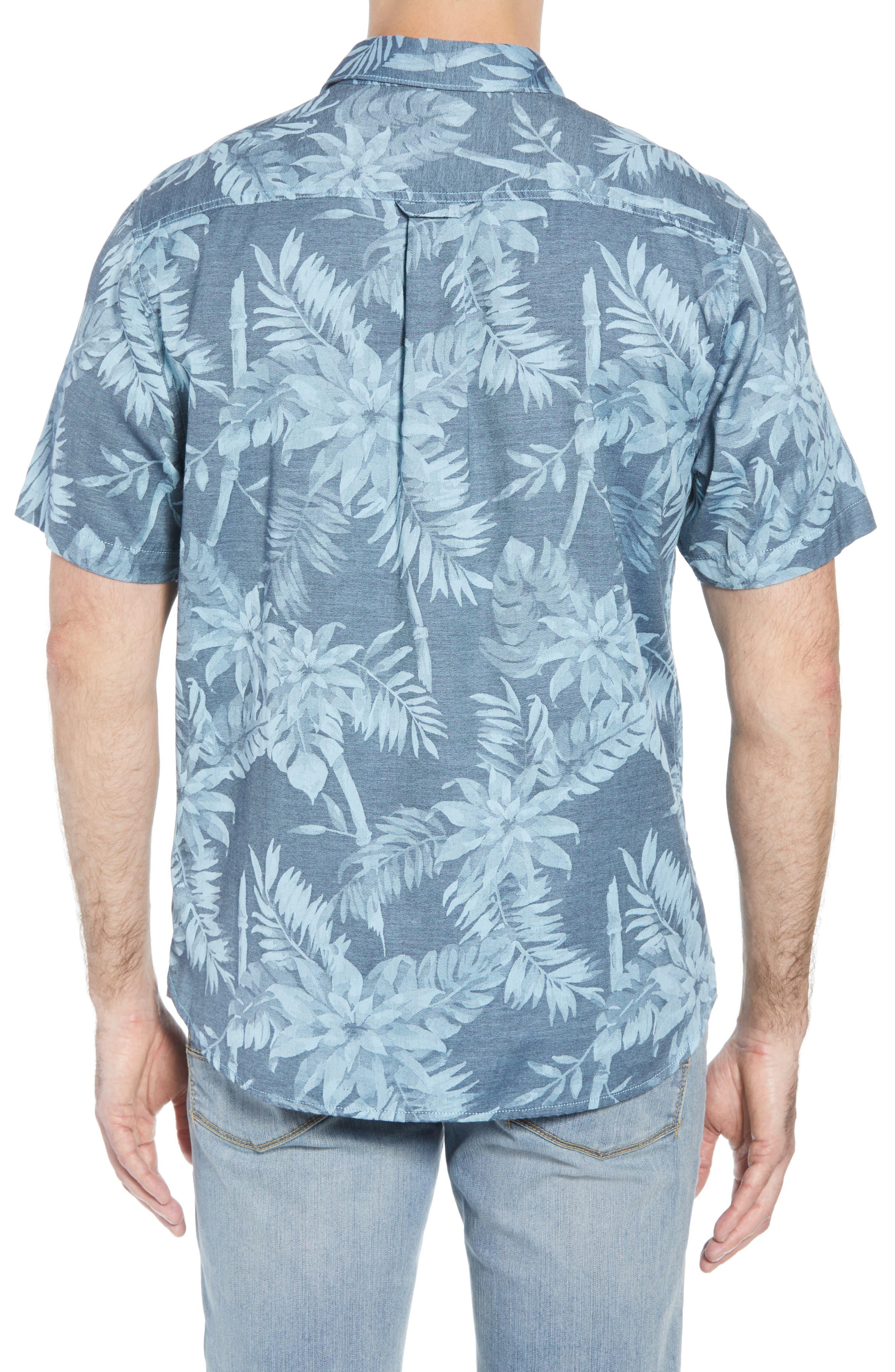 Tropical Tones Regular Fit Sport Shirt,                             Alternate thumbnail 3, color,                             OCEAN DEEP