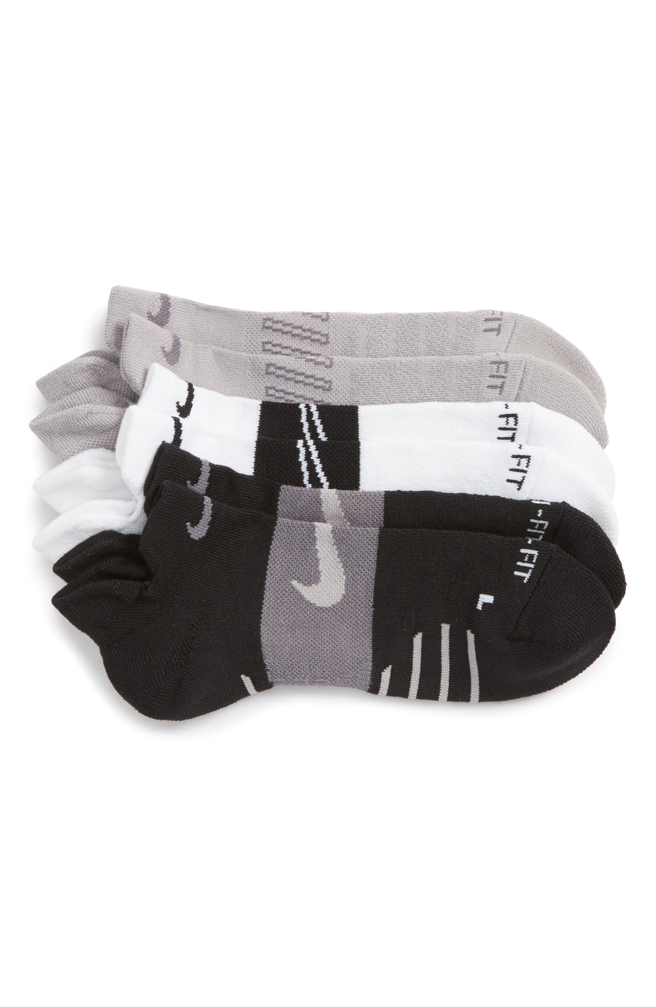 Dry 3-Pack Cushioned Low Cut Socks,                             Main thumbnail 1, color,                             002